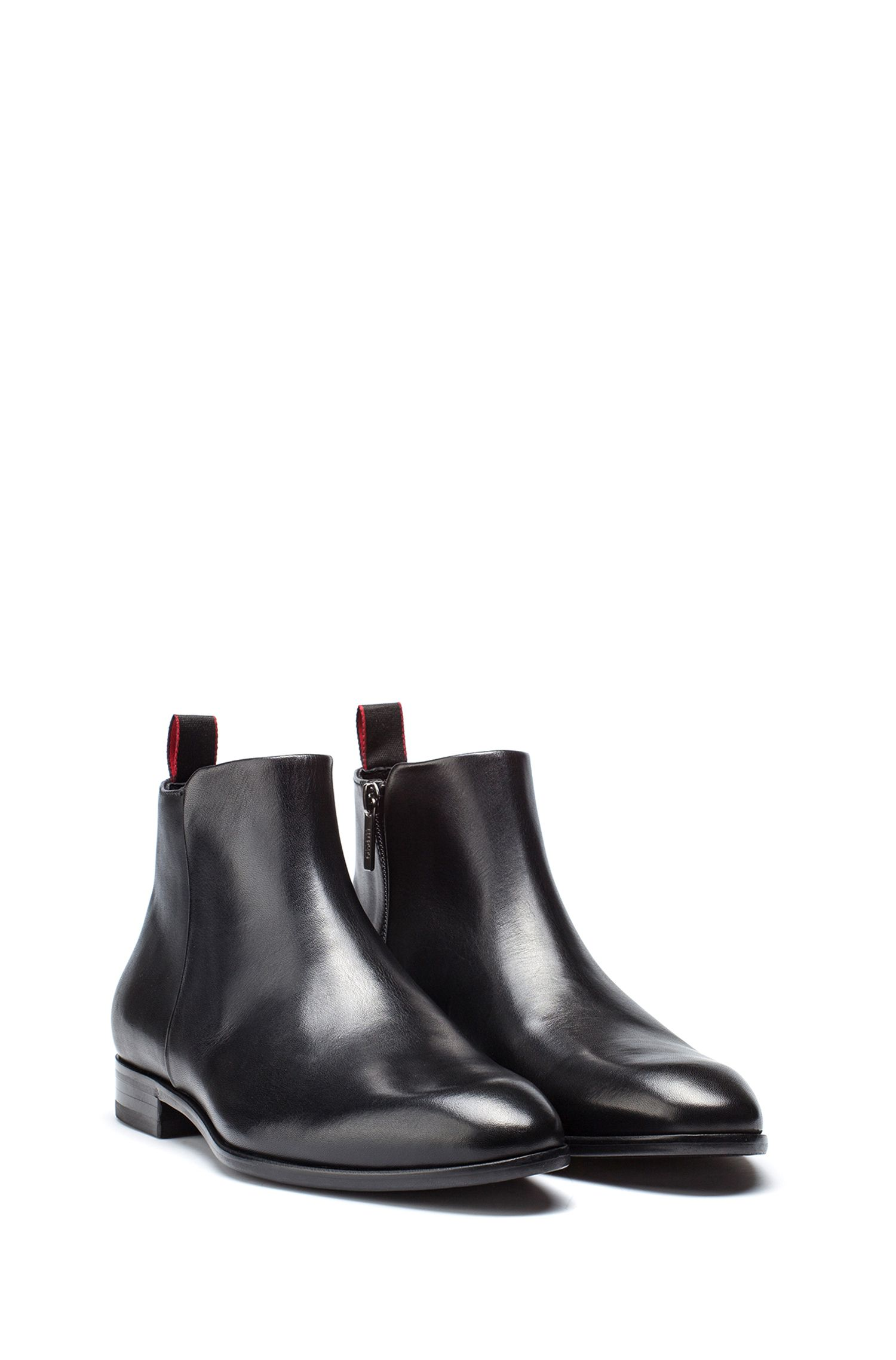 Smooth calf-leather boot with side zip