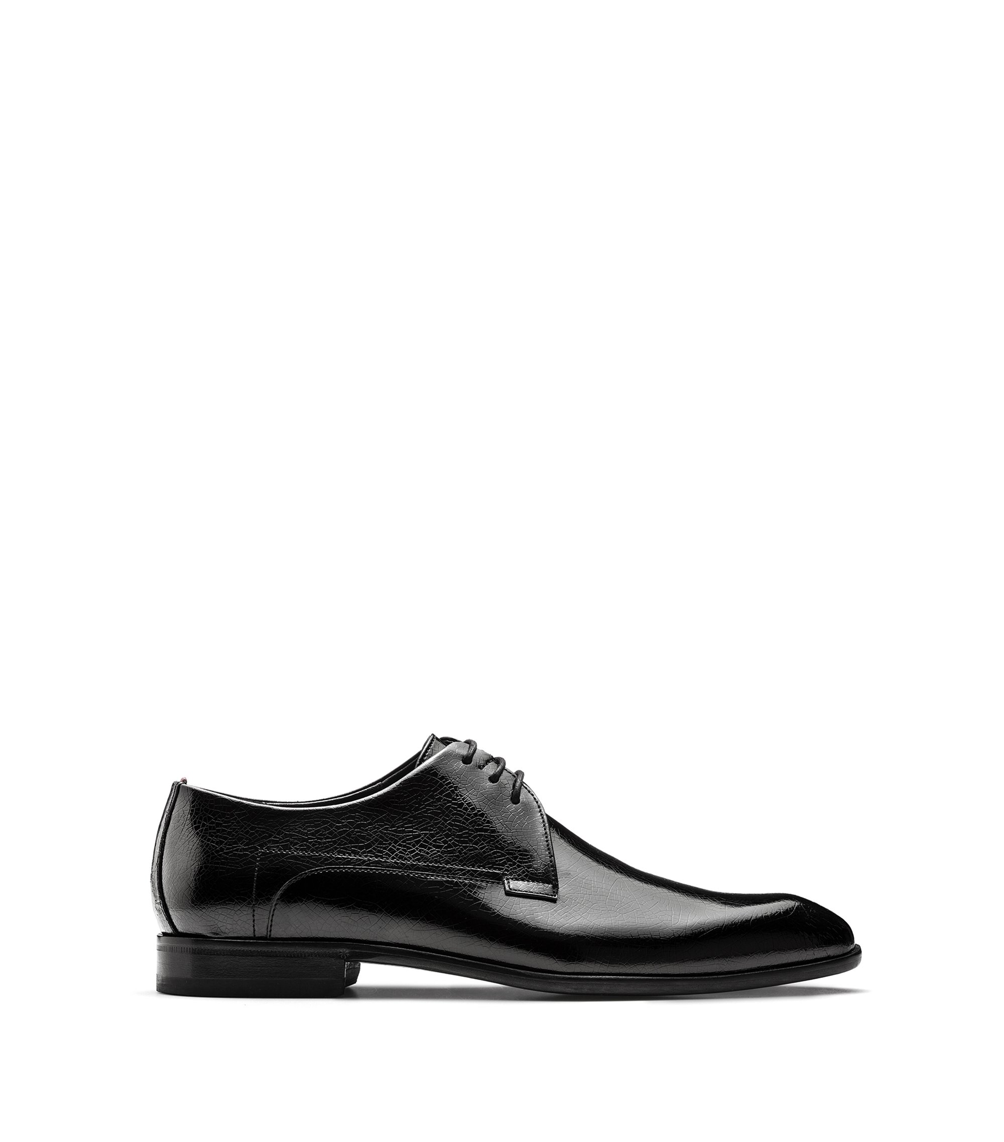 Patent calf-leather Derby shoes , Black