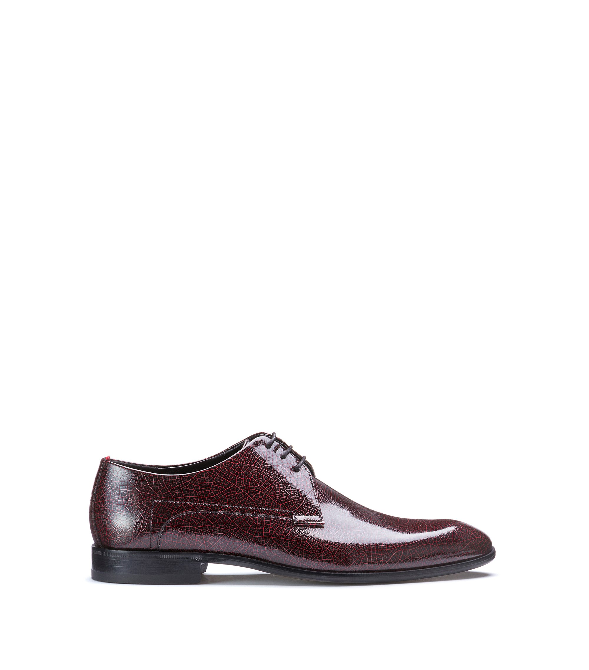Patent calf-leather Derby shoes , Dark Red