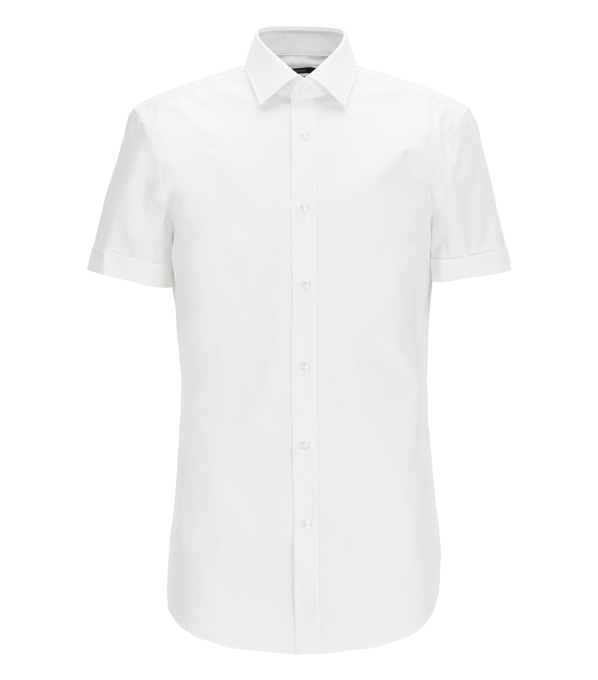 Short-sleeved cotton shirt in a slim fit, Blanc