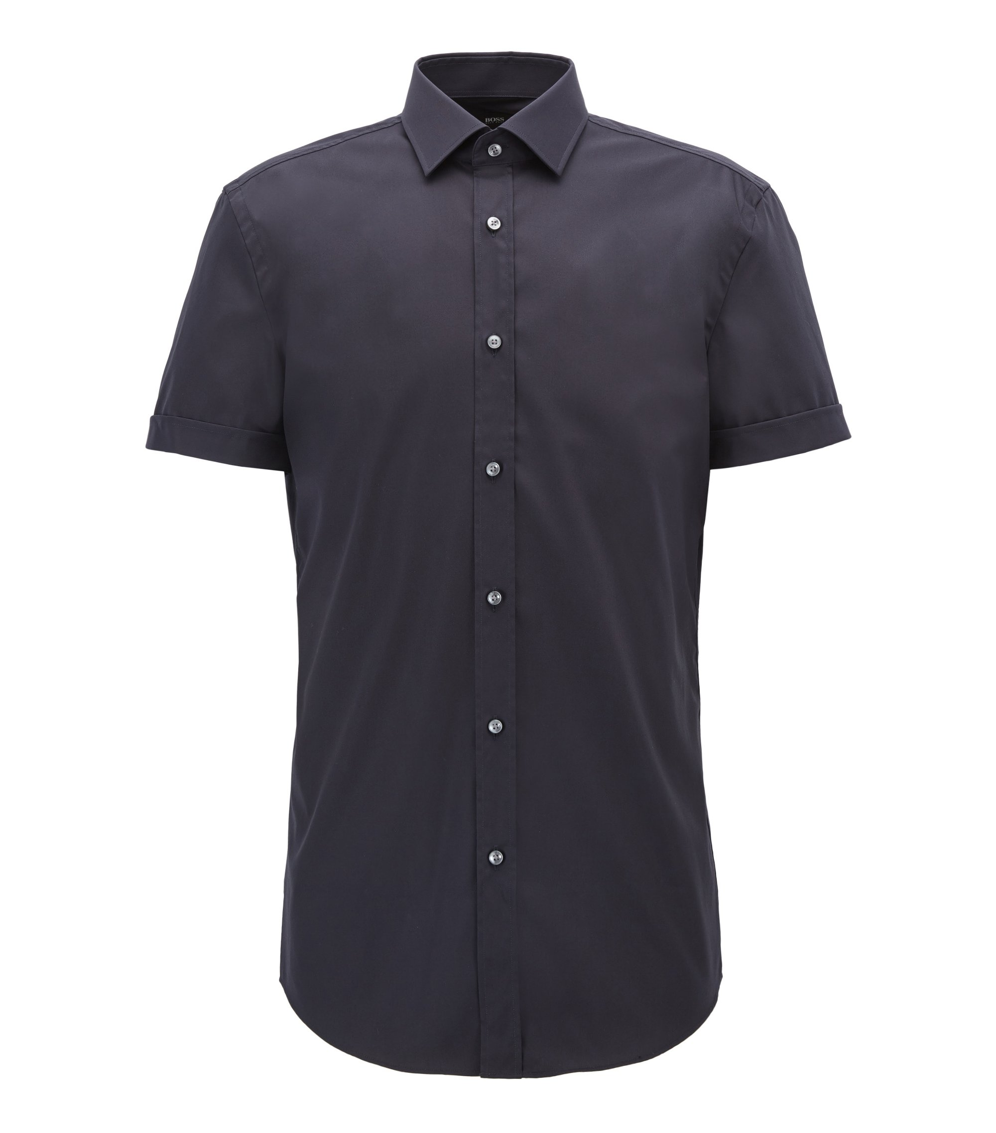 Short-sleeved cotton shirt in a slim fit, Bleu foncé