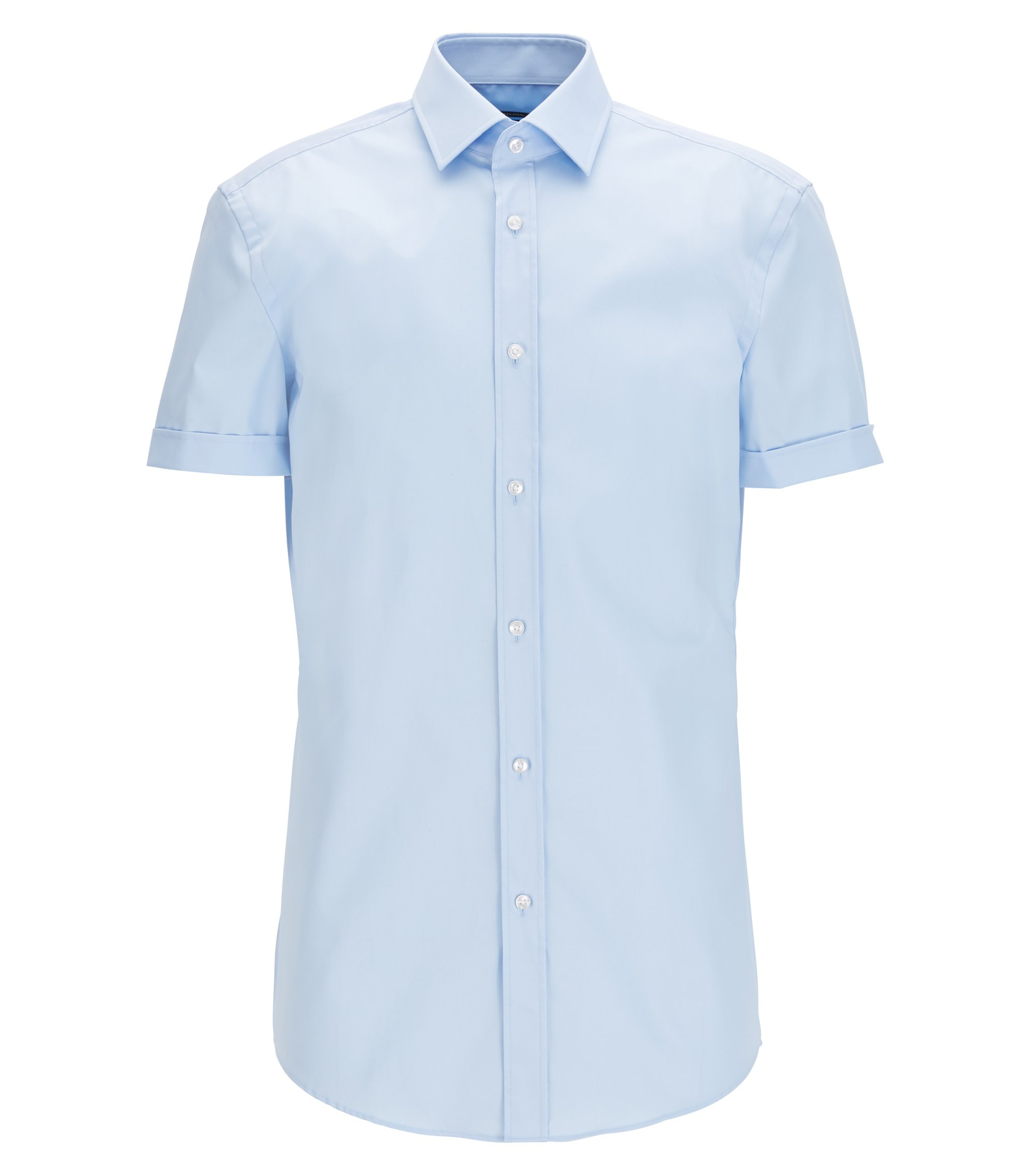 Short-sleeved cotton shirt in a slim fit, Light Blue