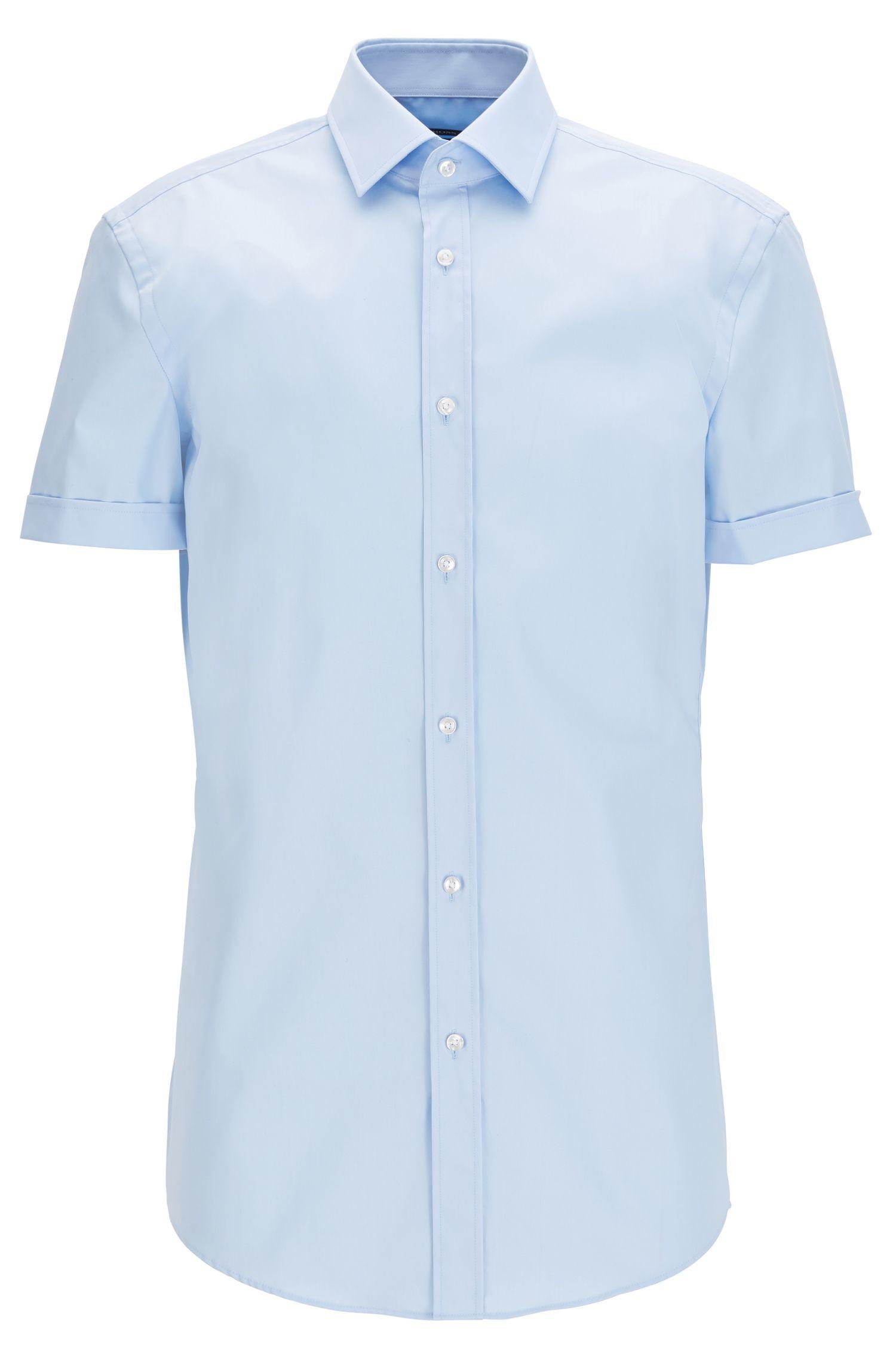 Camicia slim fit a maniche corte in cotone