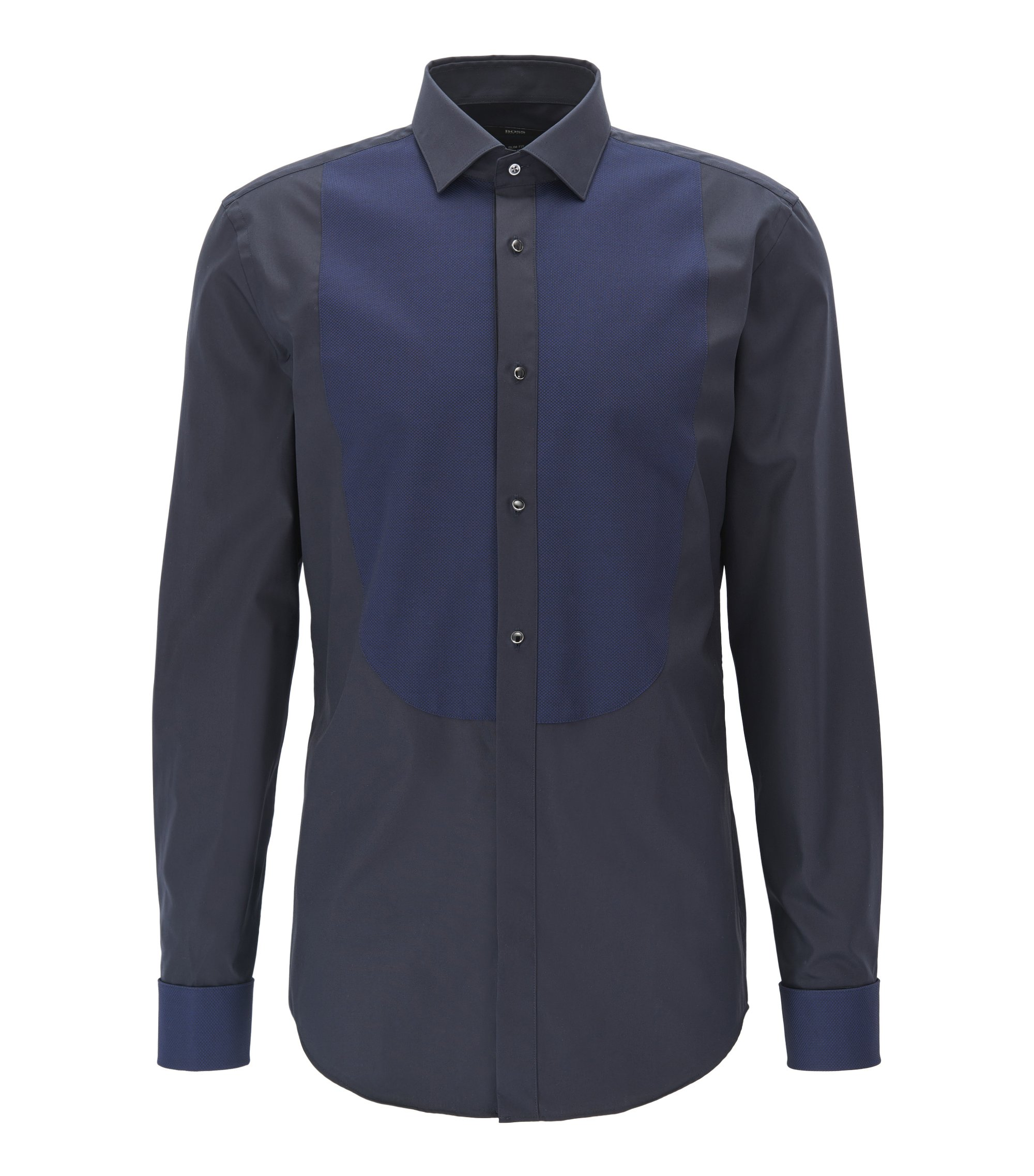 Elegante camicia slim fit in cotone facile da stirare, Blu scuro