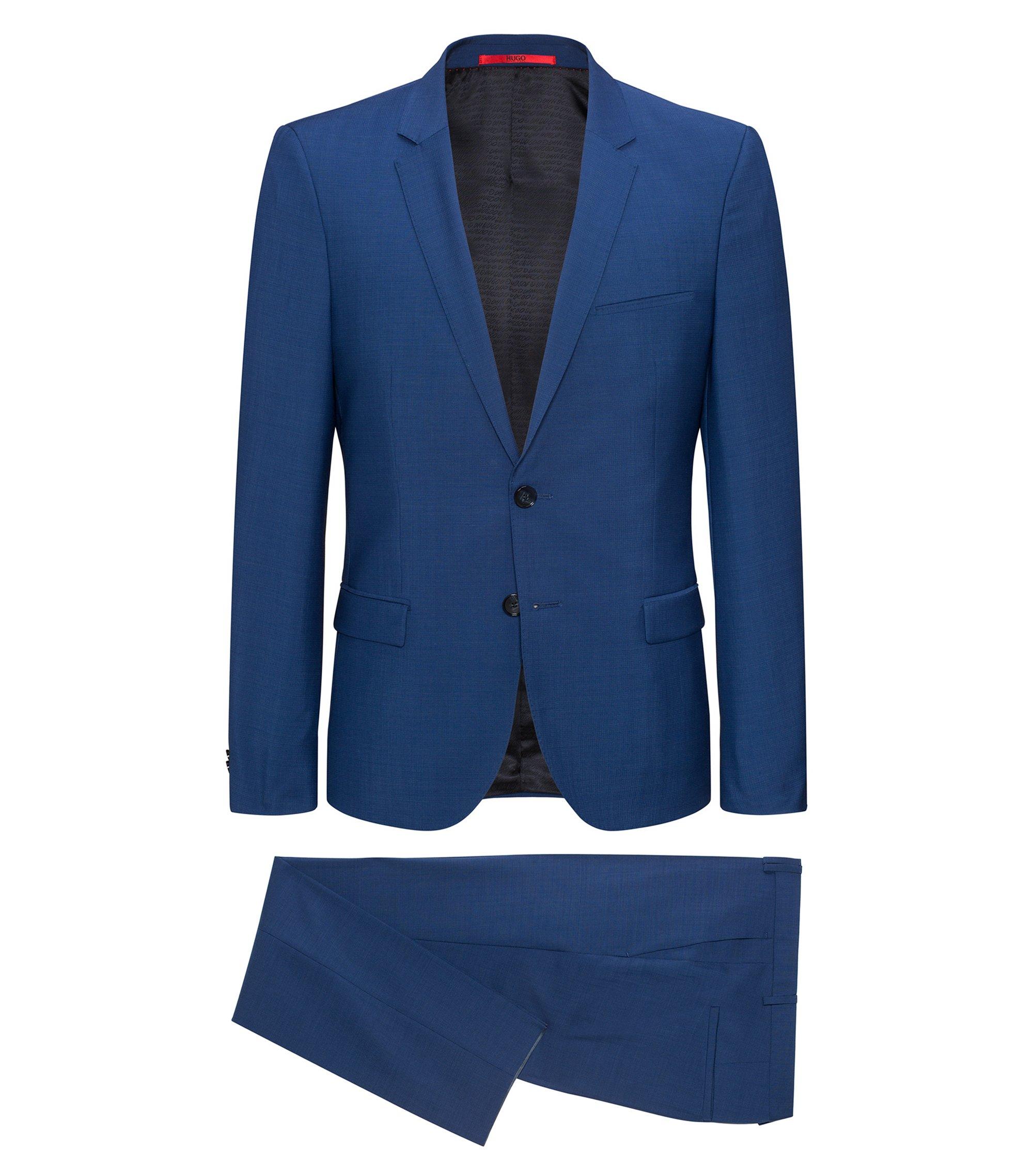 Extra slim-fit kostuum van scheerwol met microdessin, Blauw