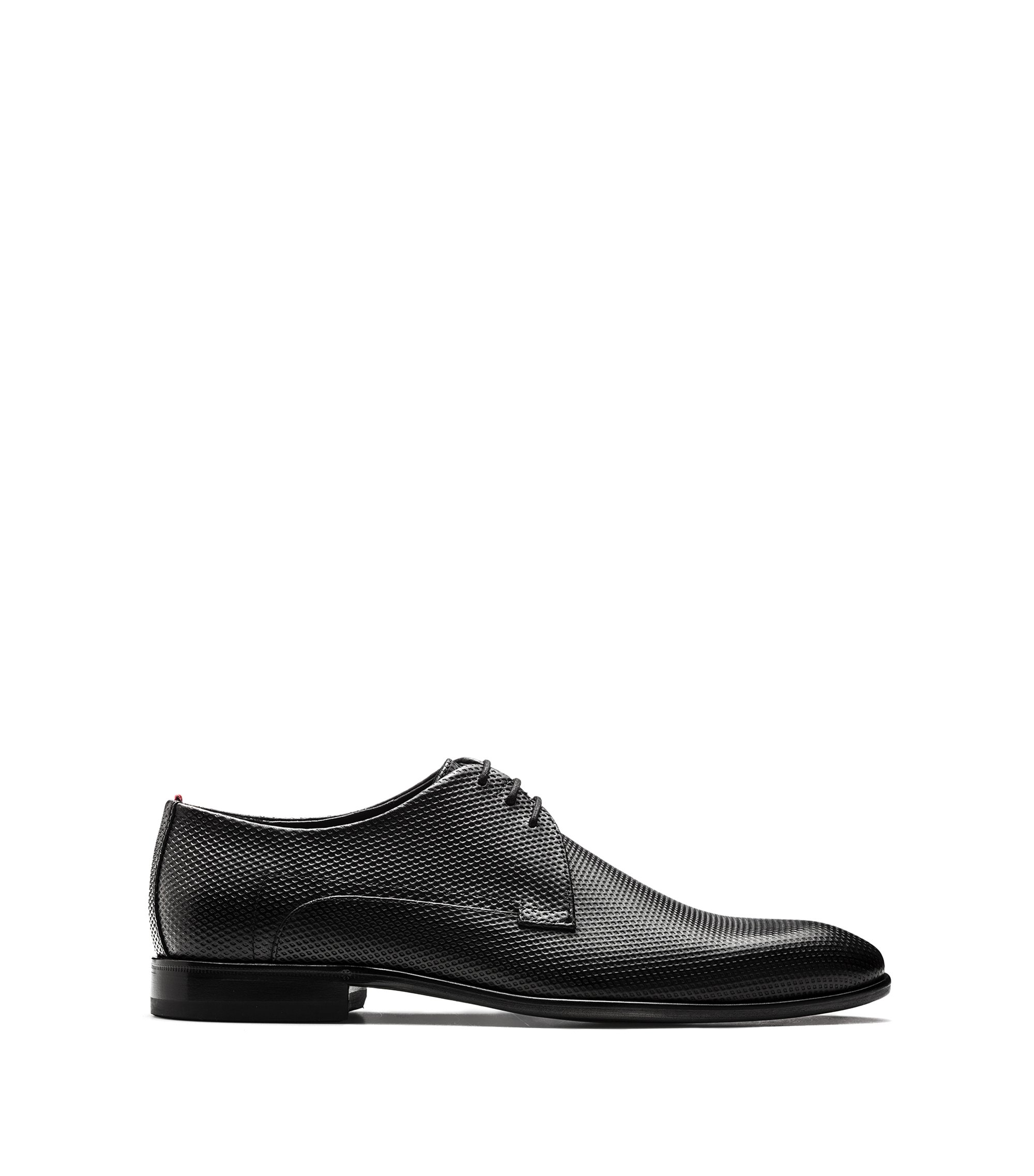 Lace-up Derby shoes in printed calf leather, Black