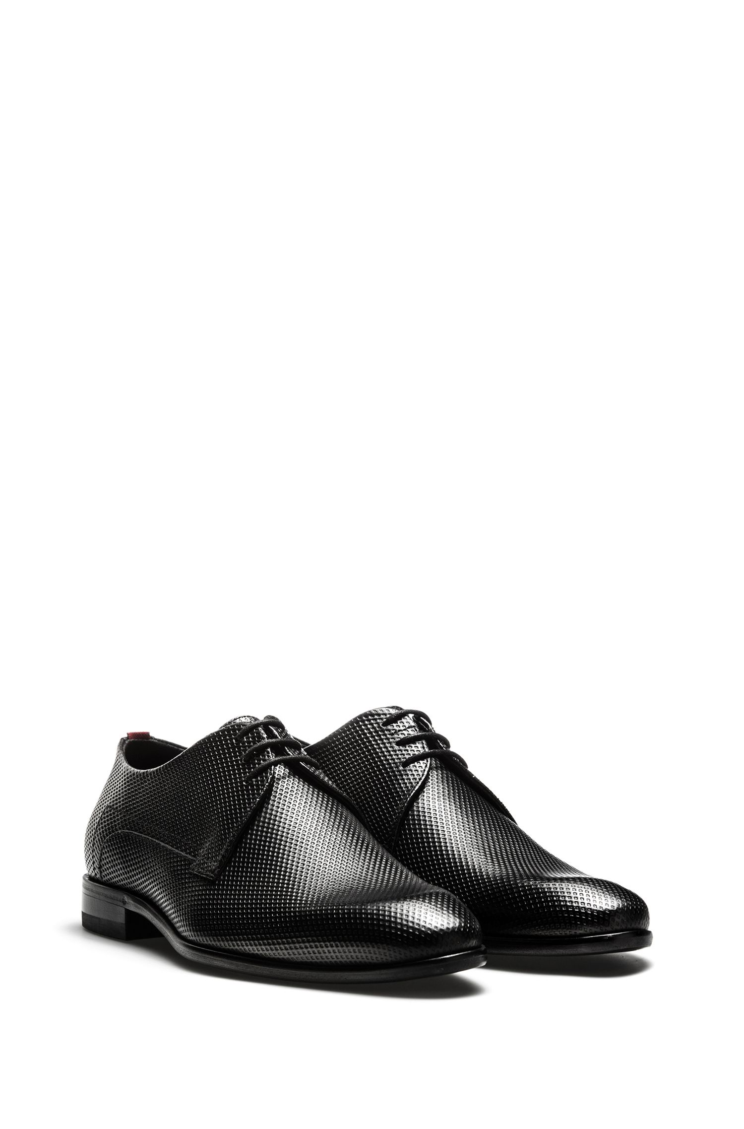 Lace-up Derby shoes in printed calf leather