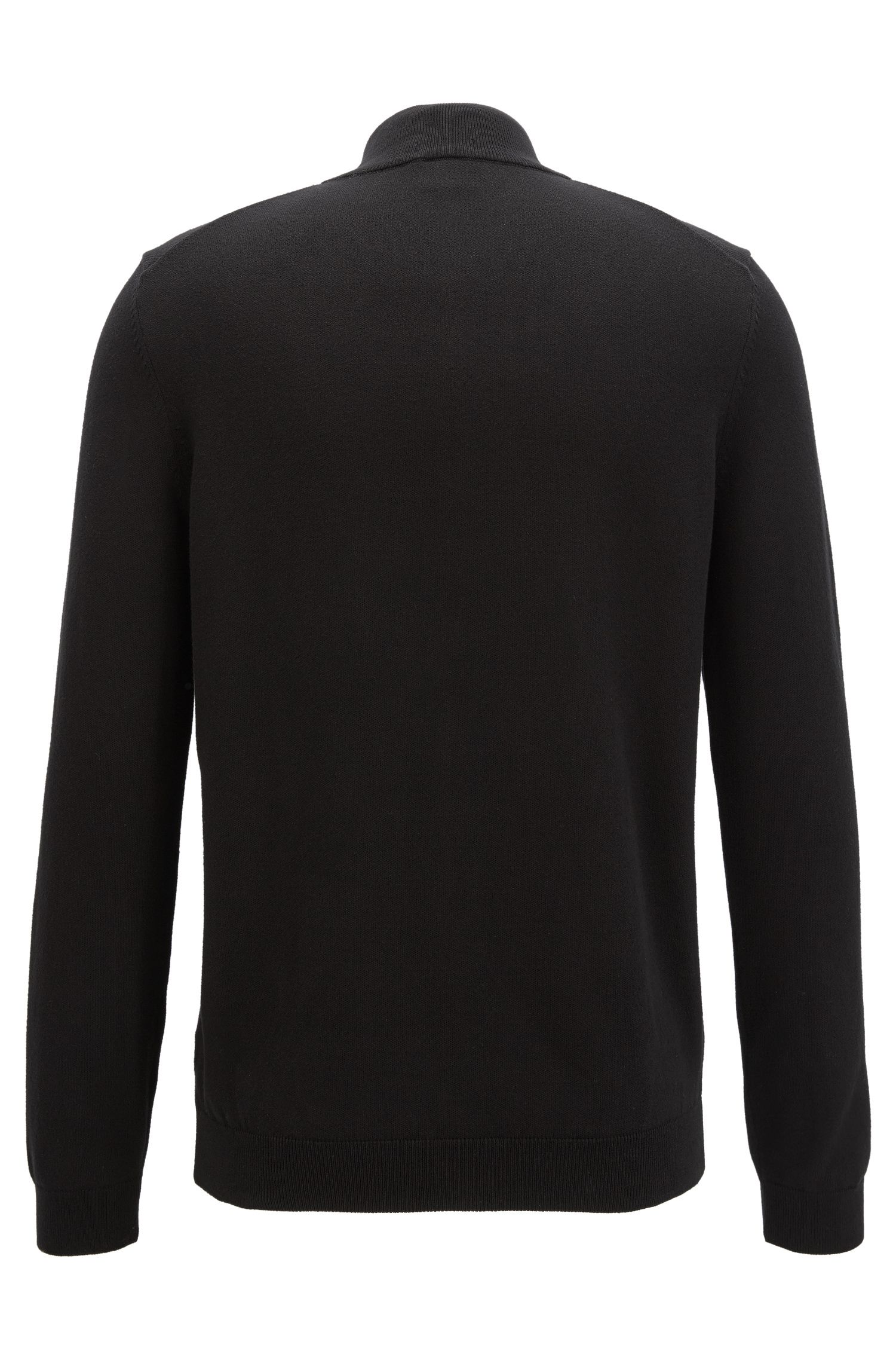Knitted zip-through sweater in Egyptian cotton
