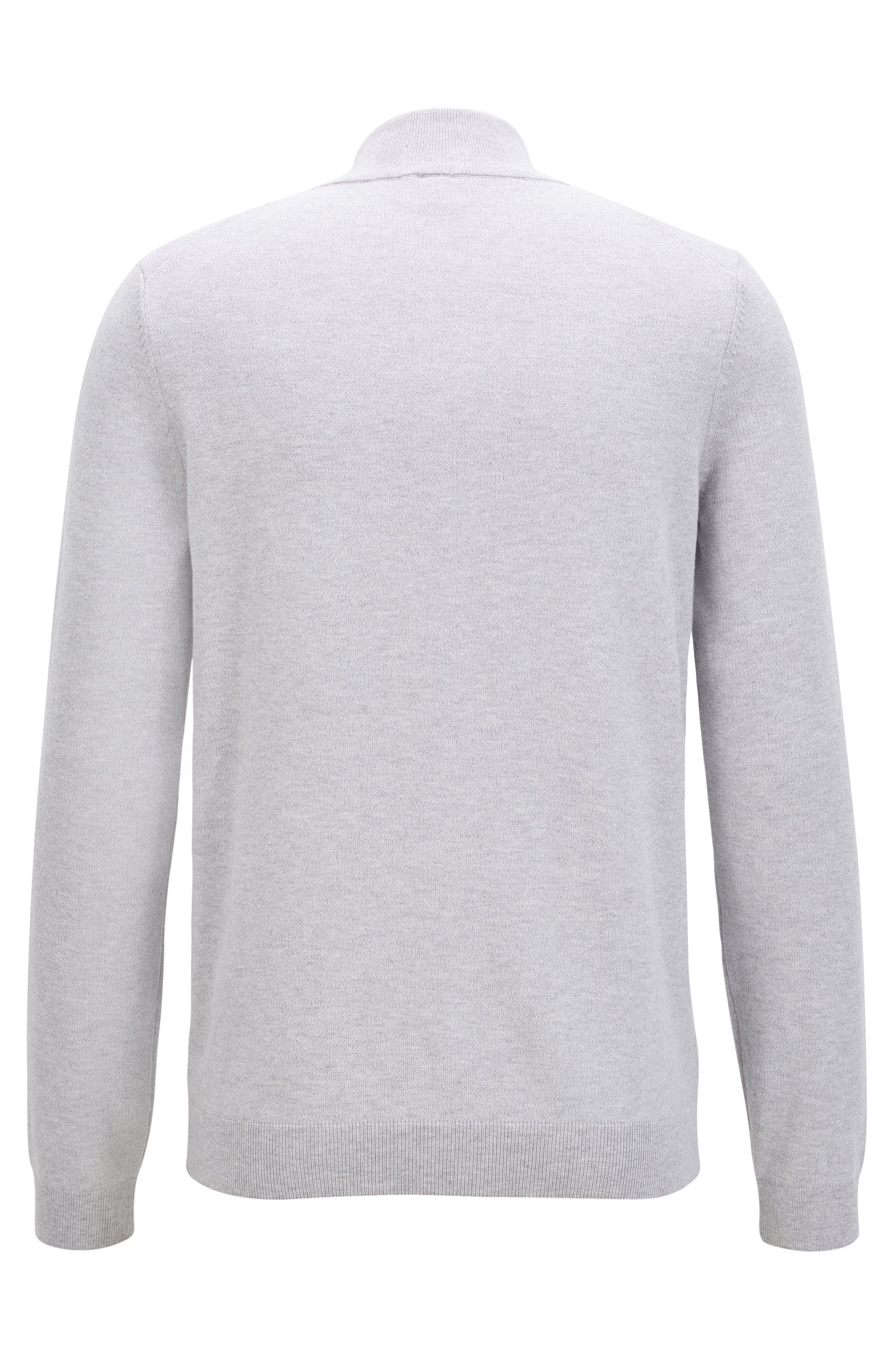 Knitted zip-through sweater in Egyptian cotton, Light Grey
