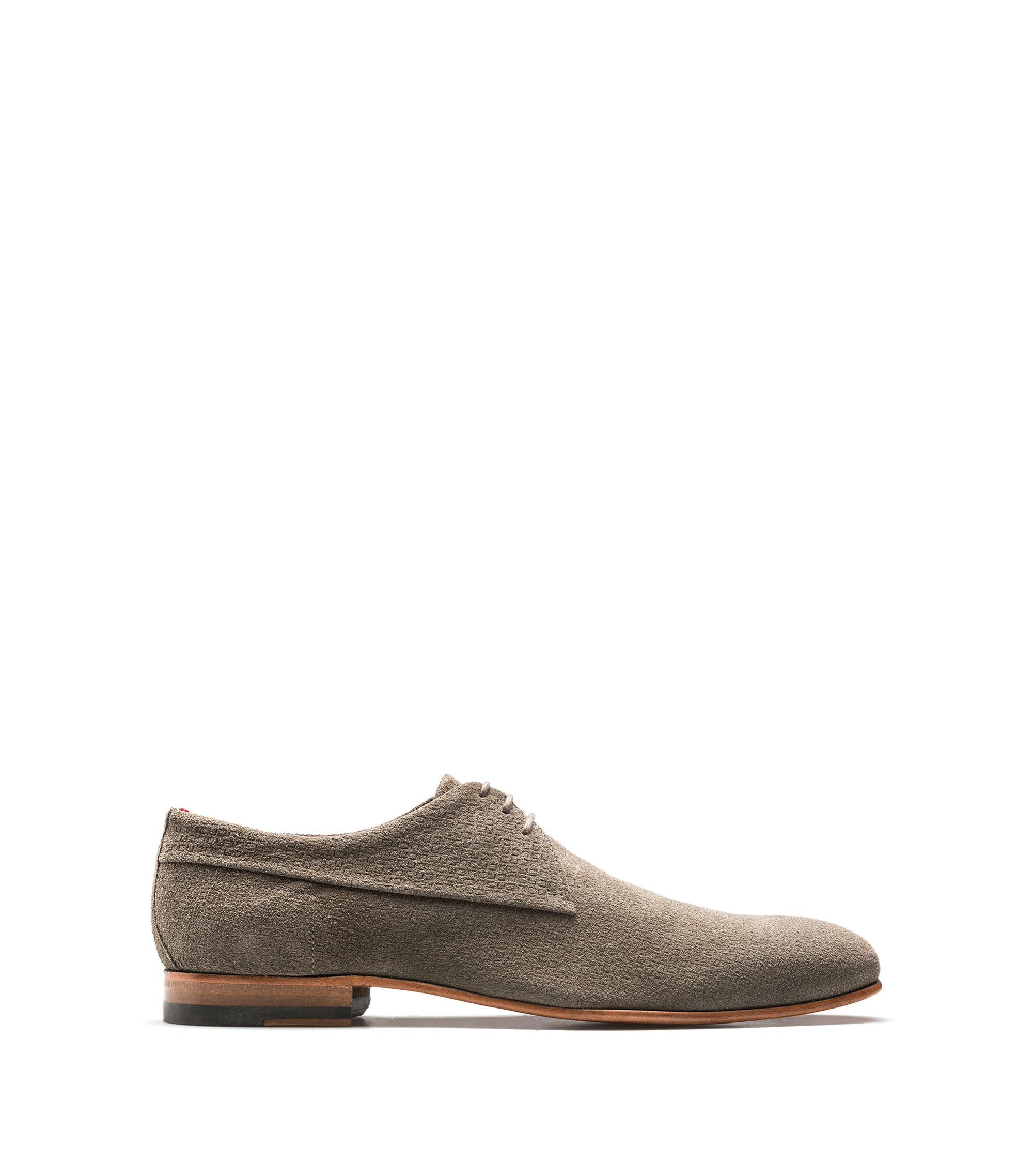 Derby shoes in embossed suede, Khaki