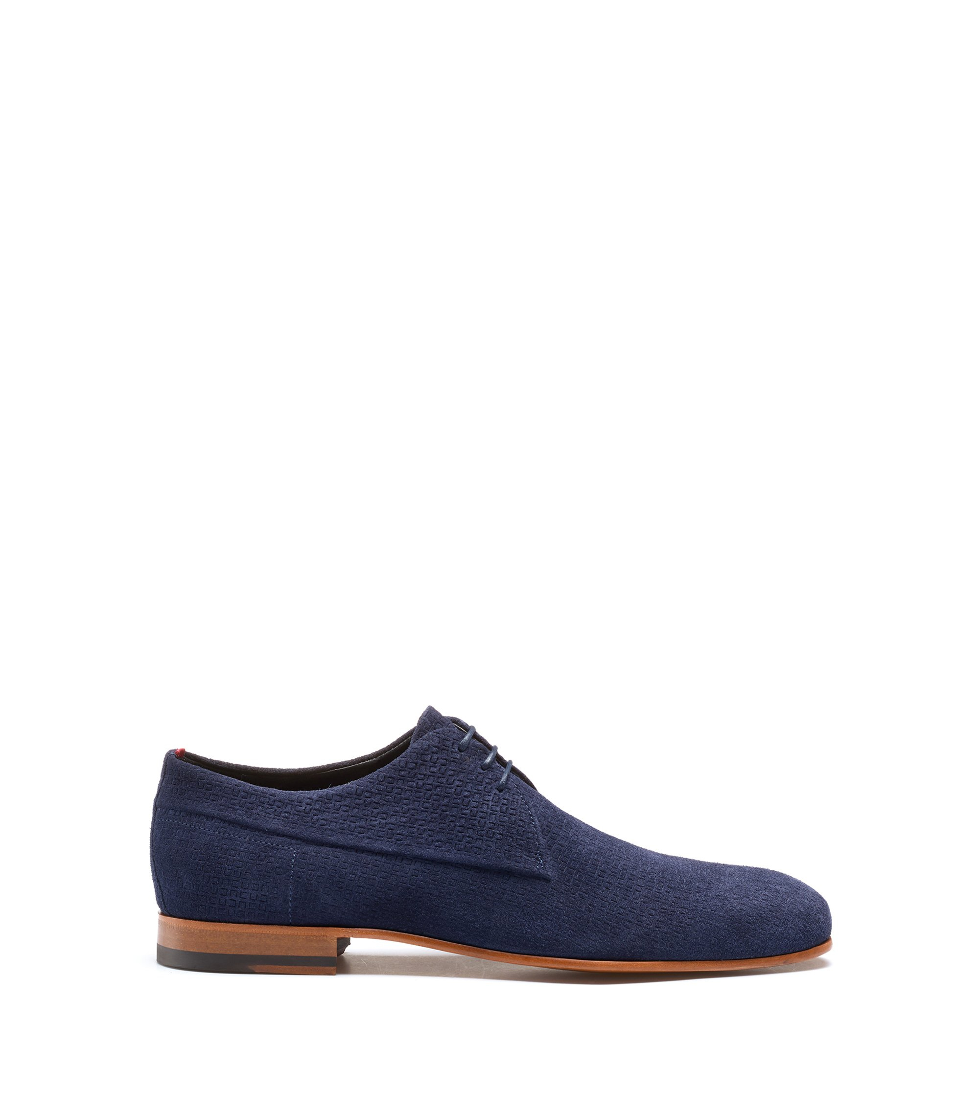 Derby shoes in embossed suede, Blue
