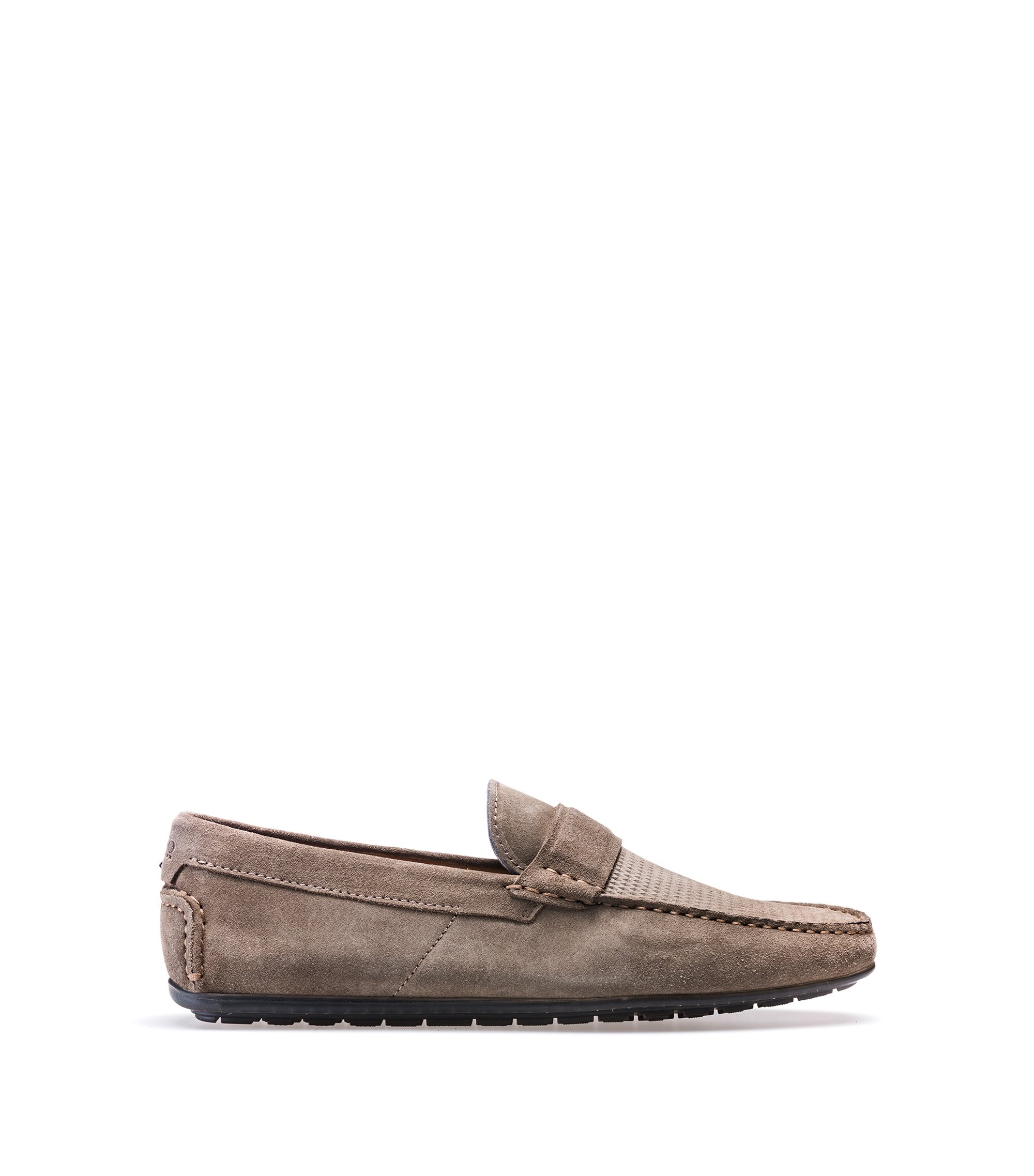 Suede moccasins with textured vamp, Khaki