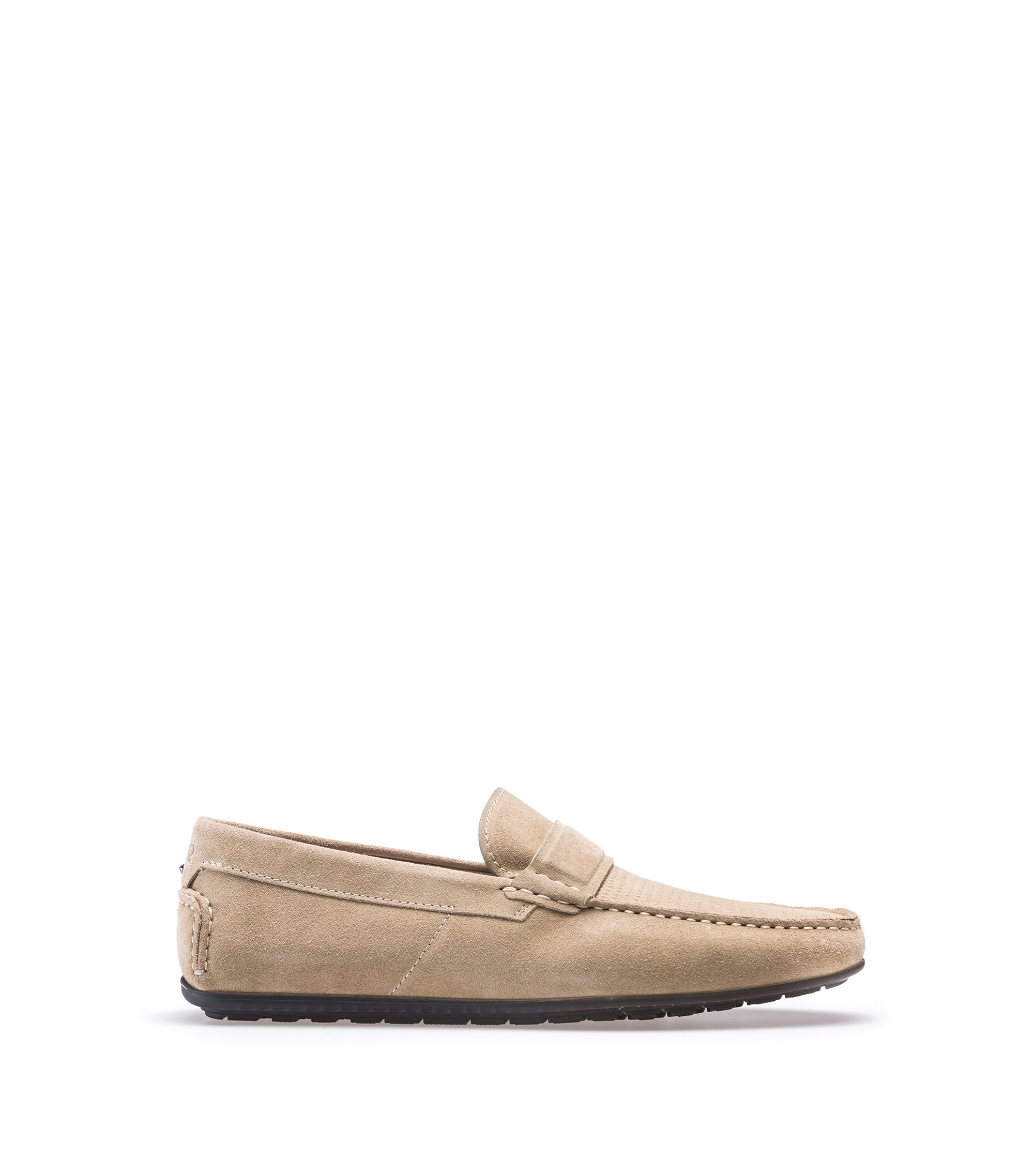 Suede moccasins with textured vamp, Light Beige