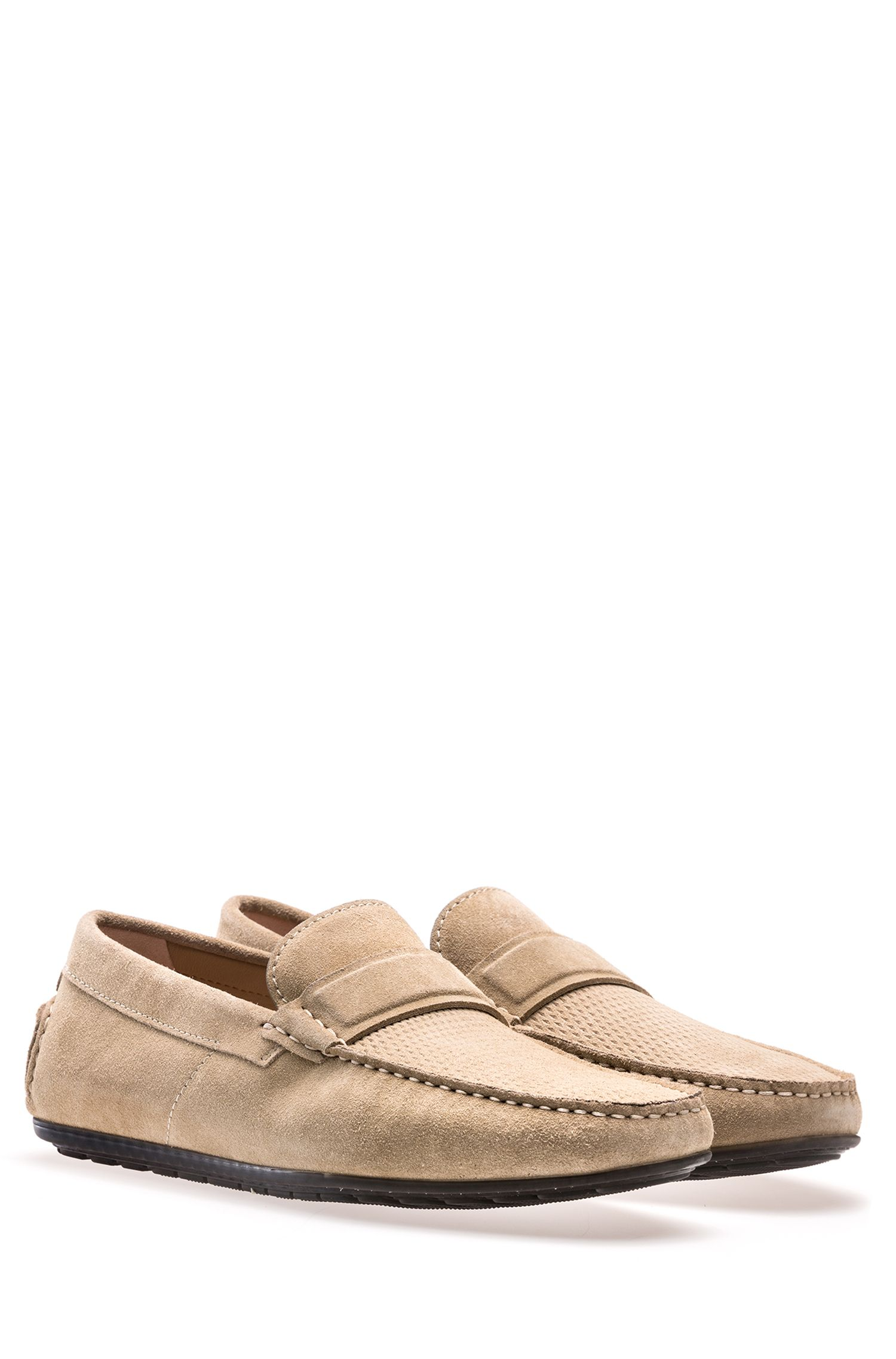 Suede moccasins with textured vamp