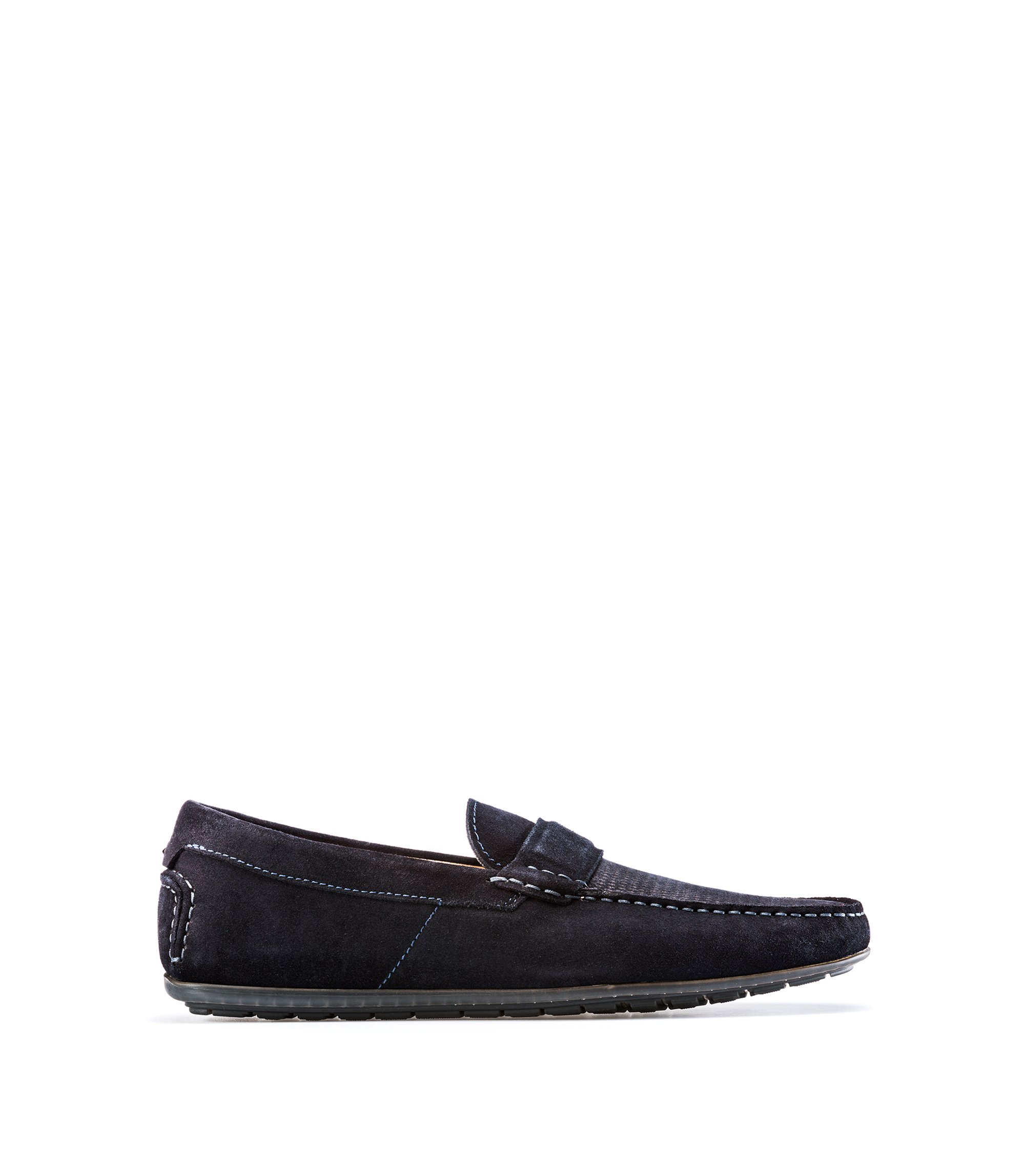 Suede moccasins with textured vamp, Dark Blue
