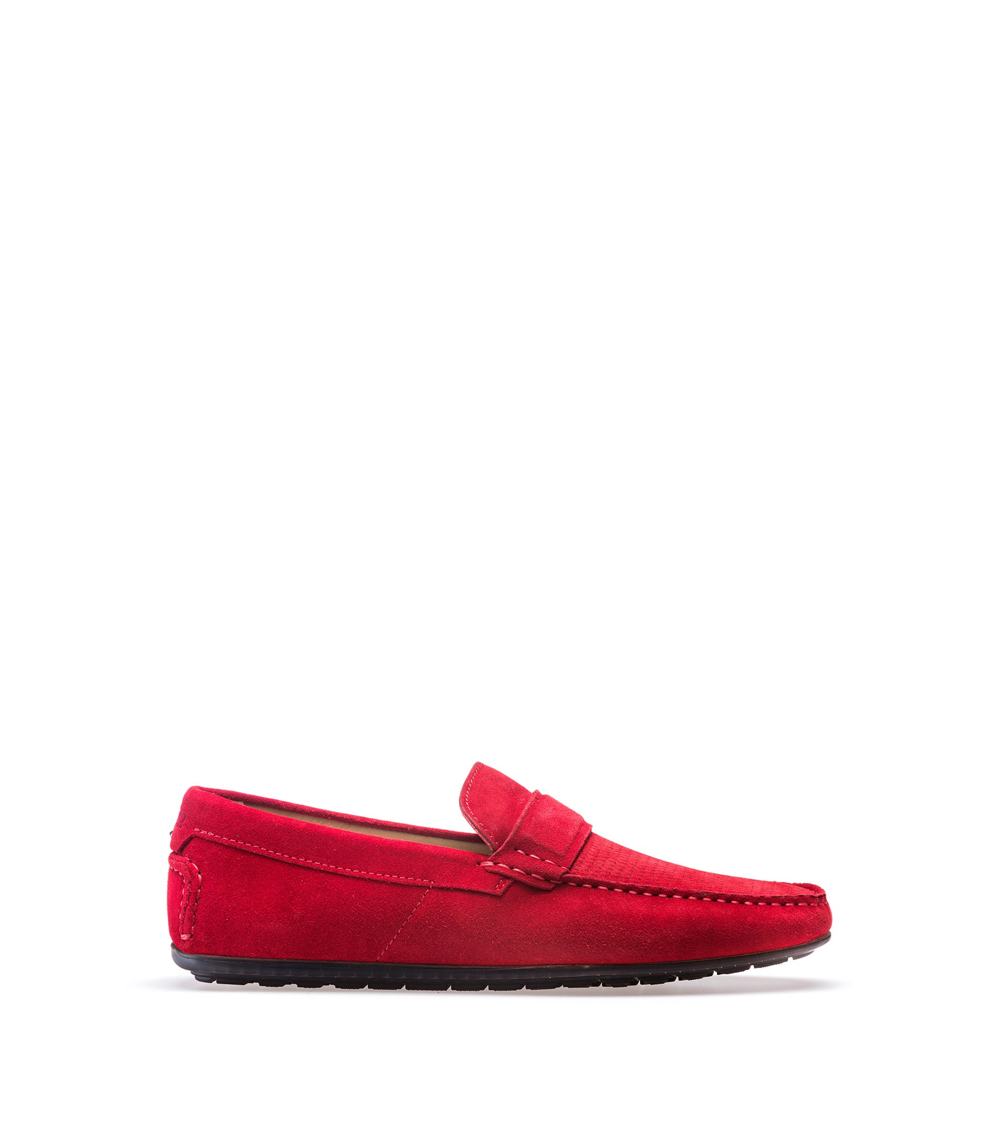 Suede moccasins with textured vamp, Red