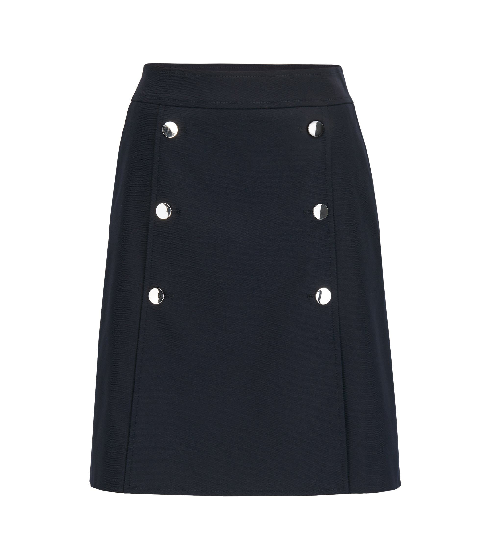A-line sailor skirt in a stretch cotton blend , Dark Blue