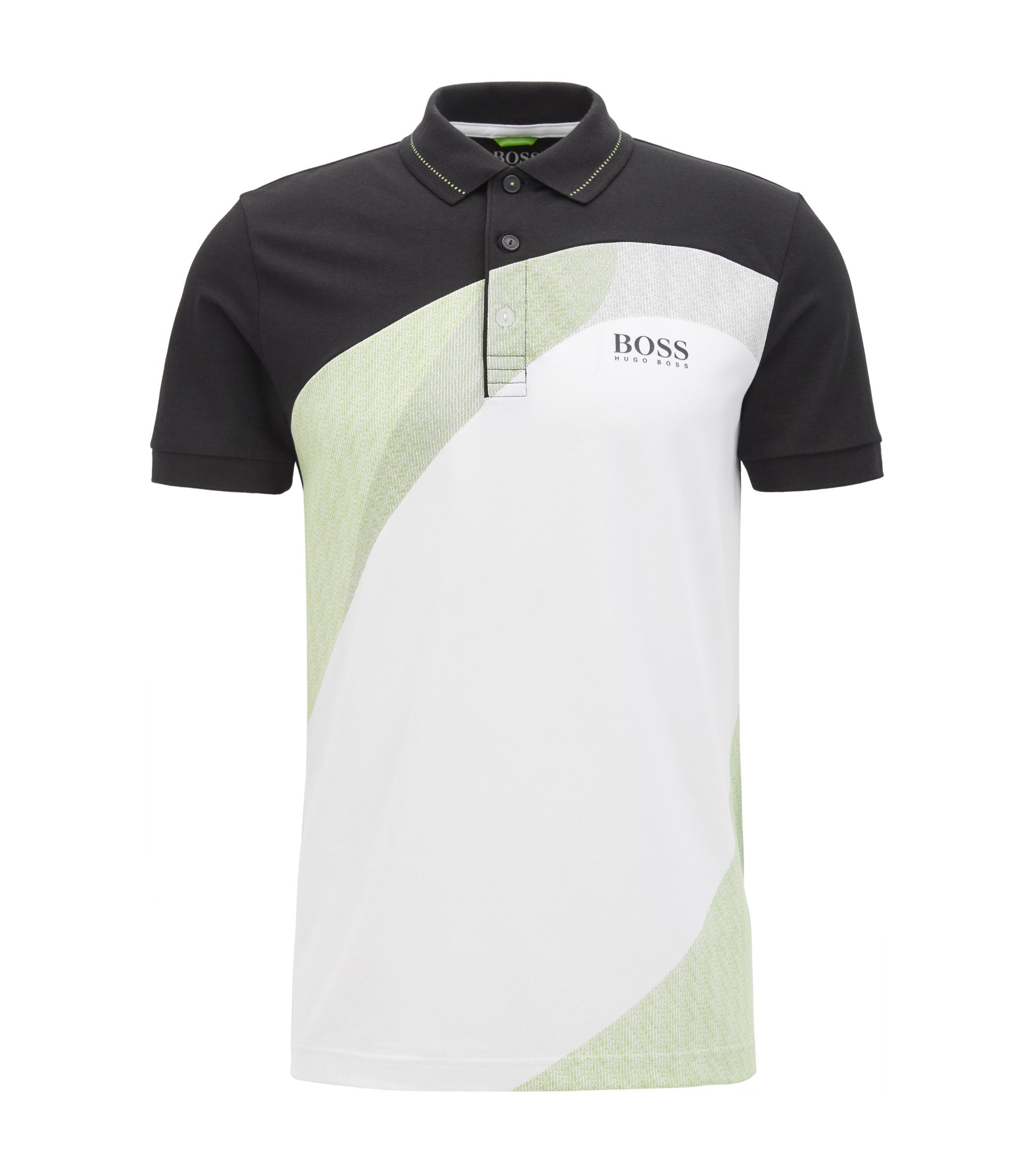 Cotton-blend polo shirt with S.Café®, Black