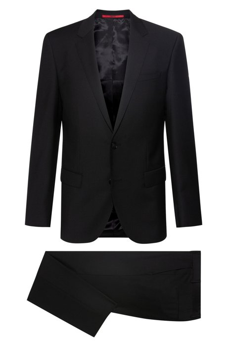 a531daf64 HUGO - Slim-fit suit in virgin wool with signature stitching
