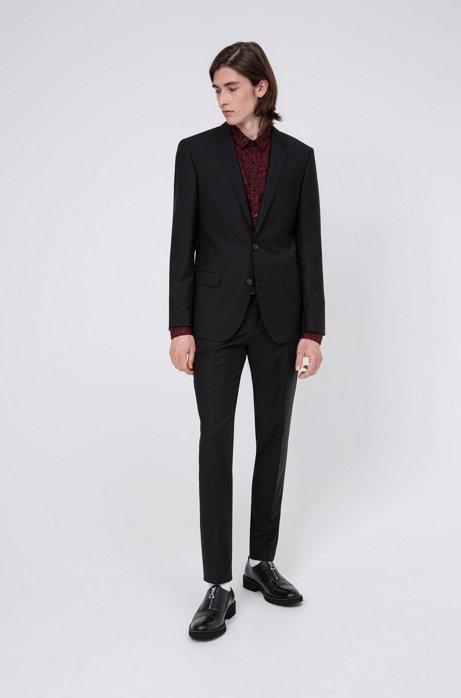 Costume Slim Fit en laine vierge à surpiqûres caractéristiques, Noir