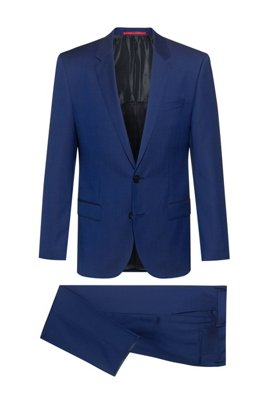 Slim-fit suit in virgin wool with signature stitching, Blue