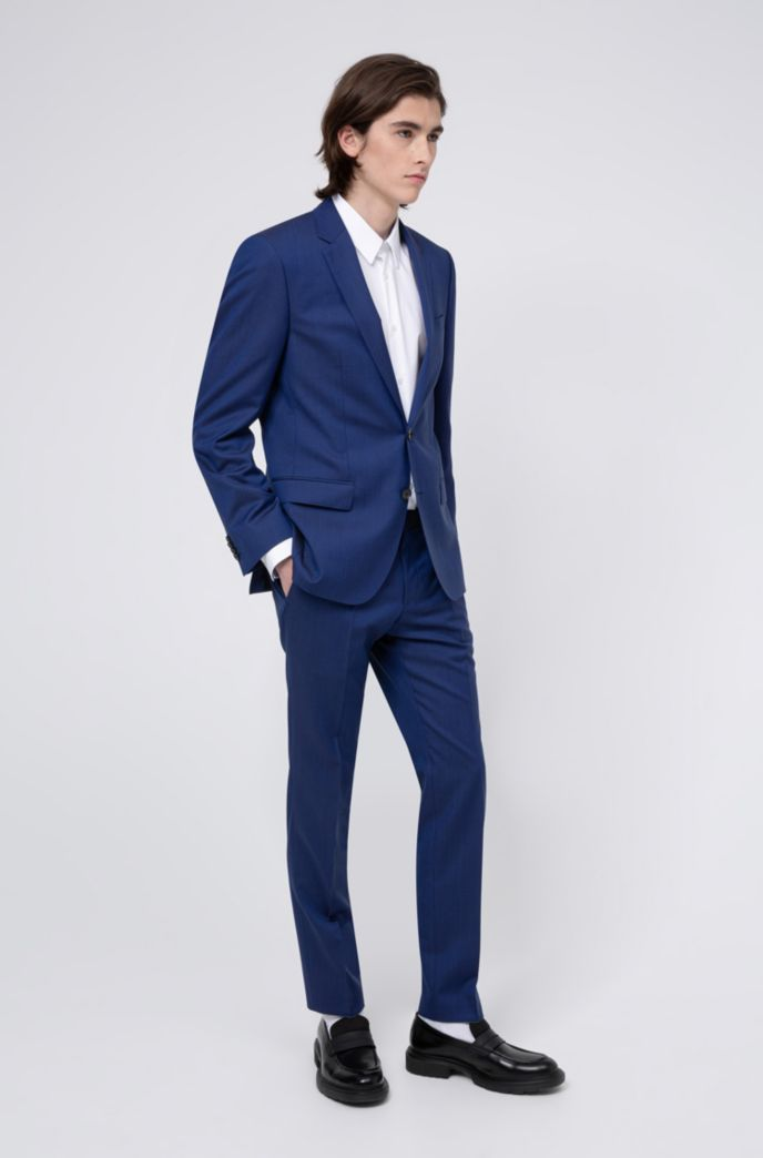 Slim-fit suit in virgin wool with signature stitching