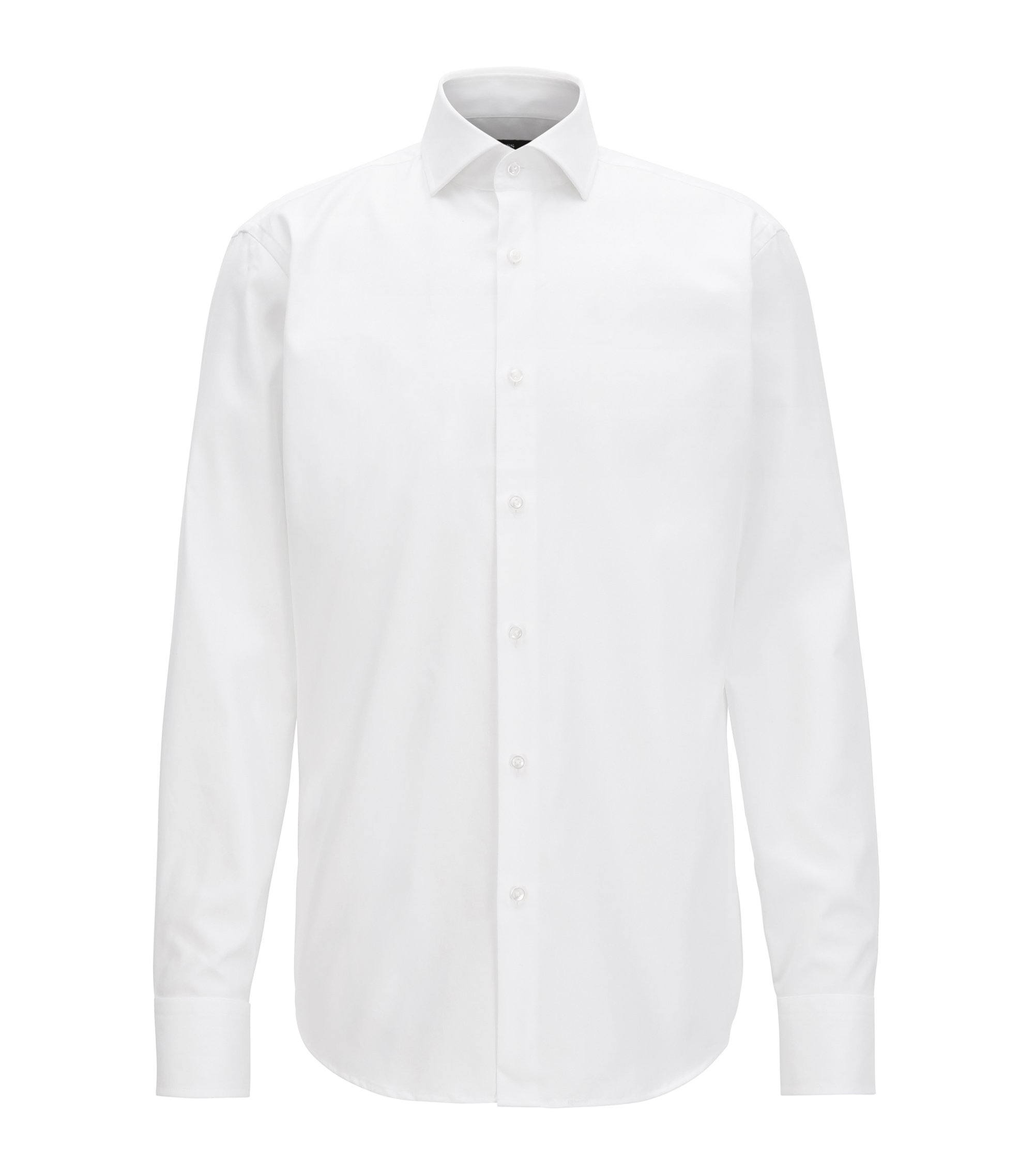 Camicia regular fit in twill di cotone tinto in filo, Bianco