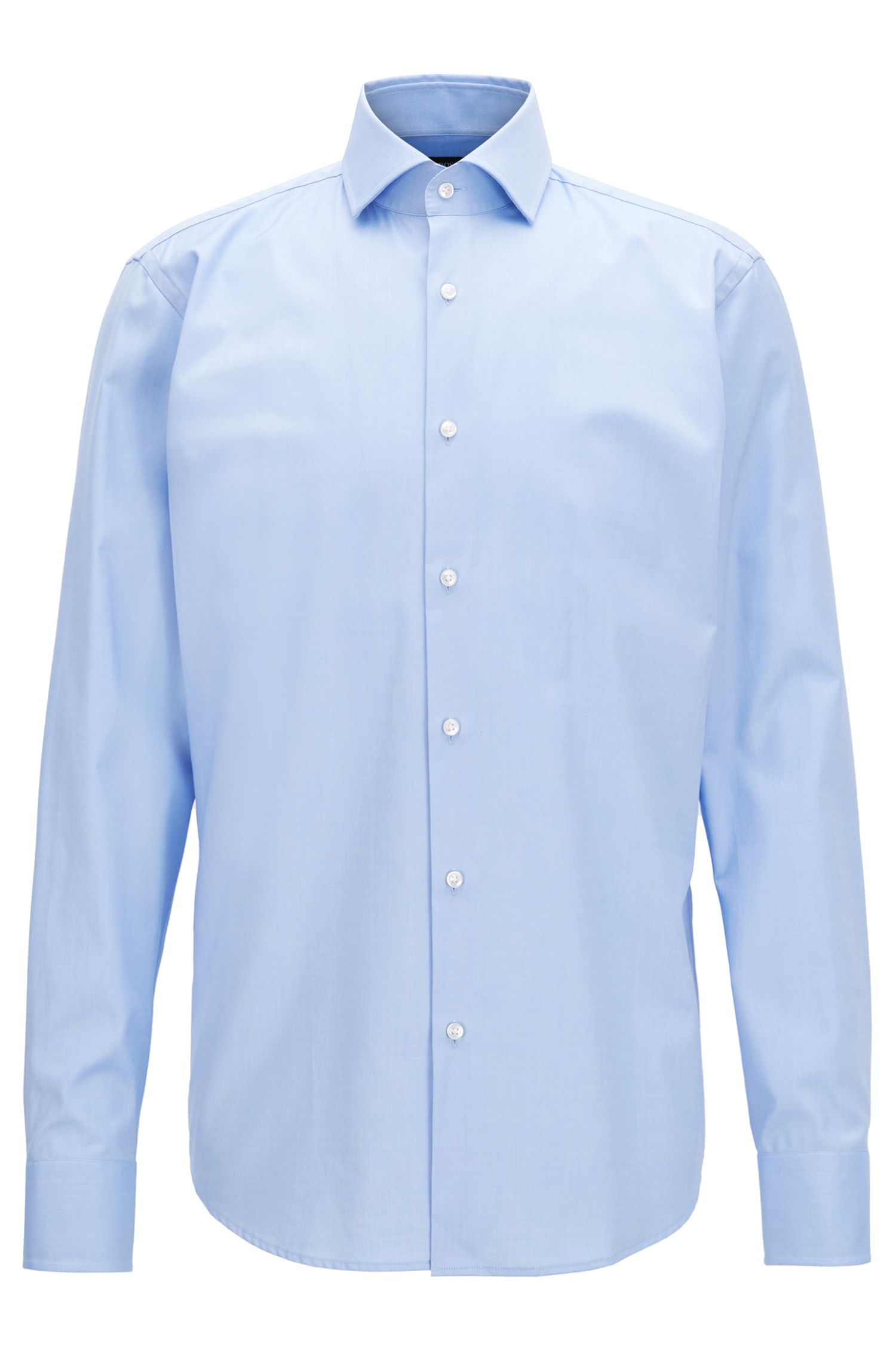 Regular-fit overhemd van in een twill van garengeverfde katoen