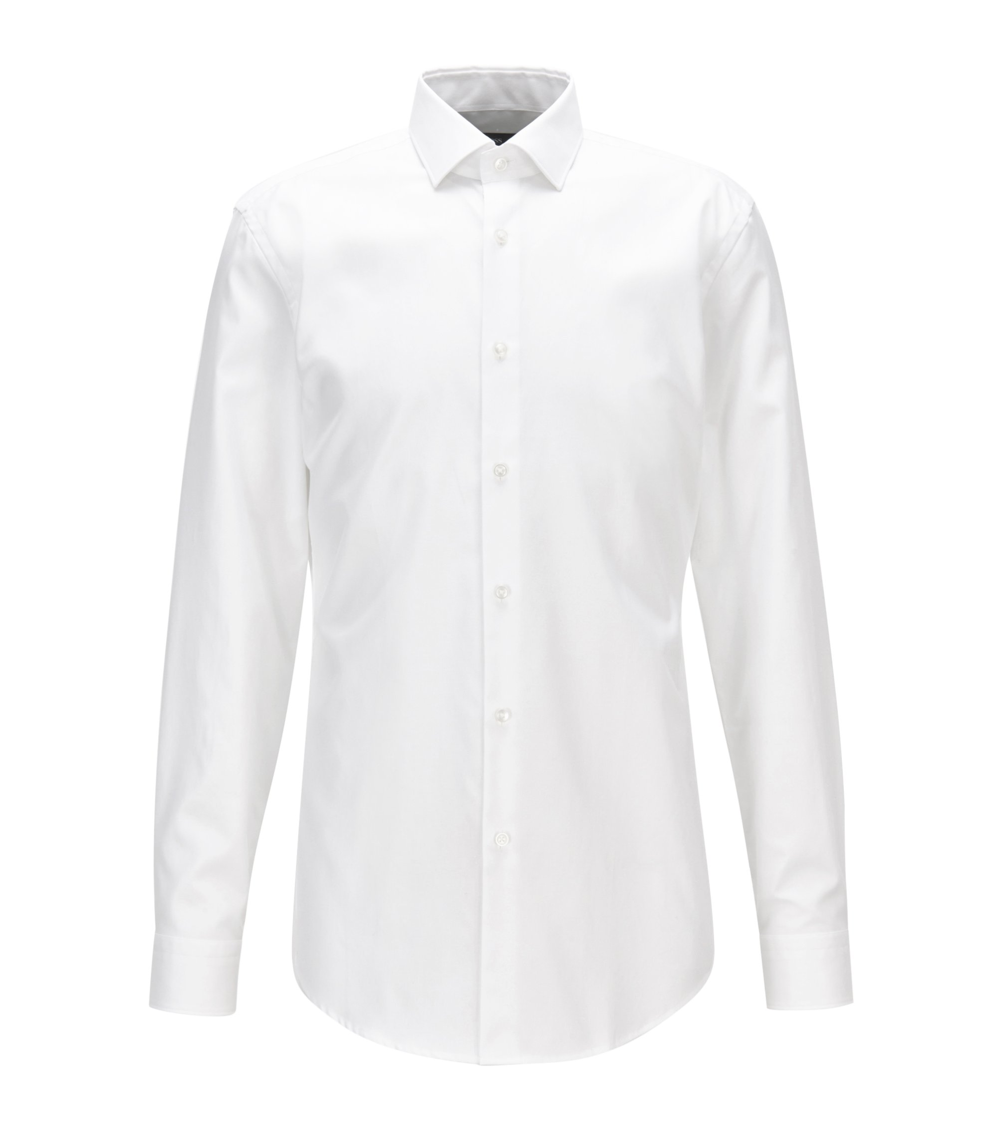 Slim-fit shirt in pure cotton twill, White