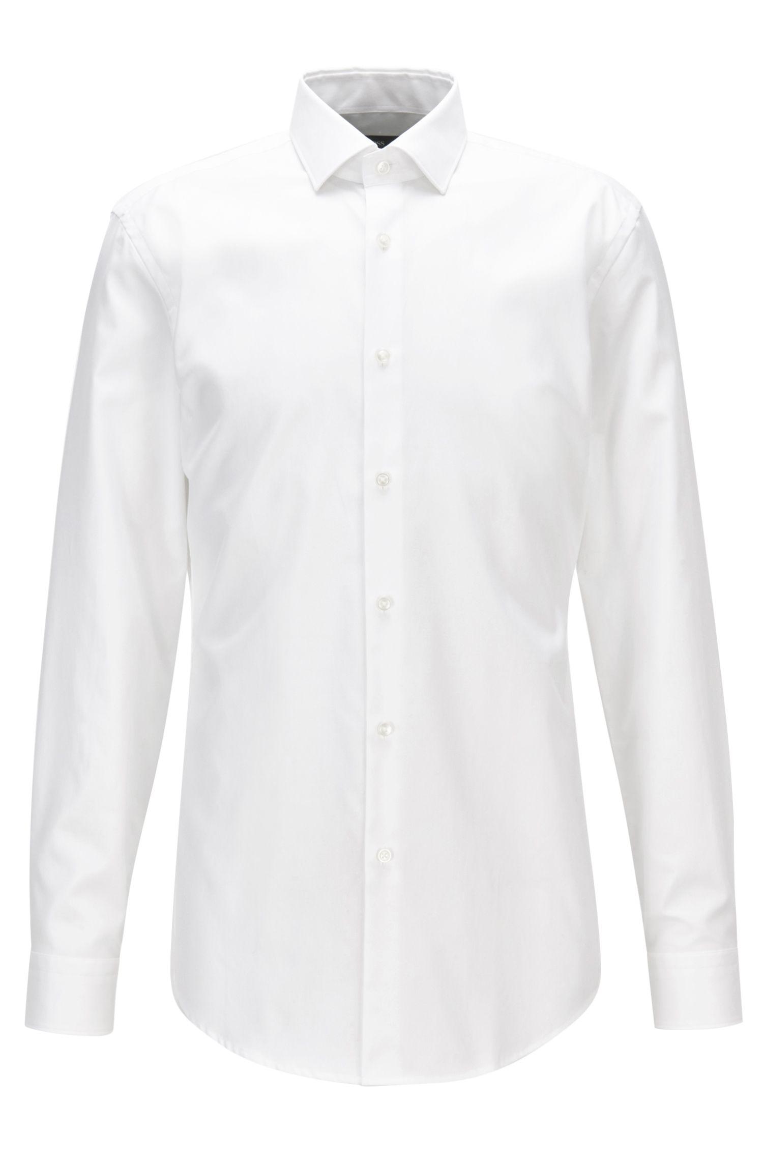 Camisa slim fit en sarga de puro algodón