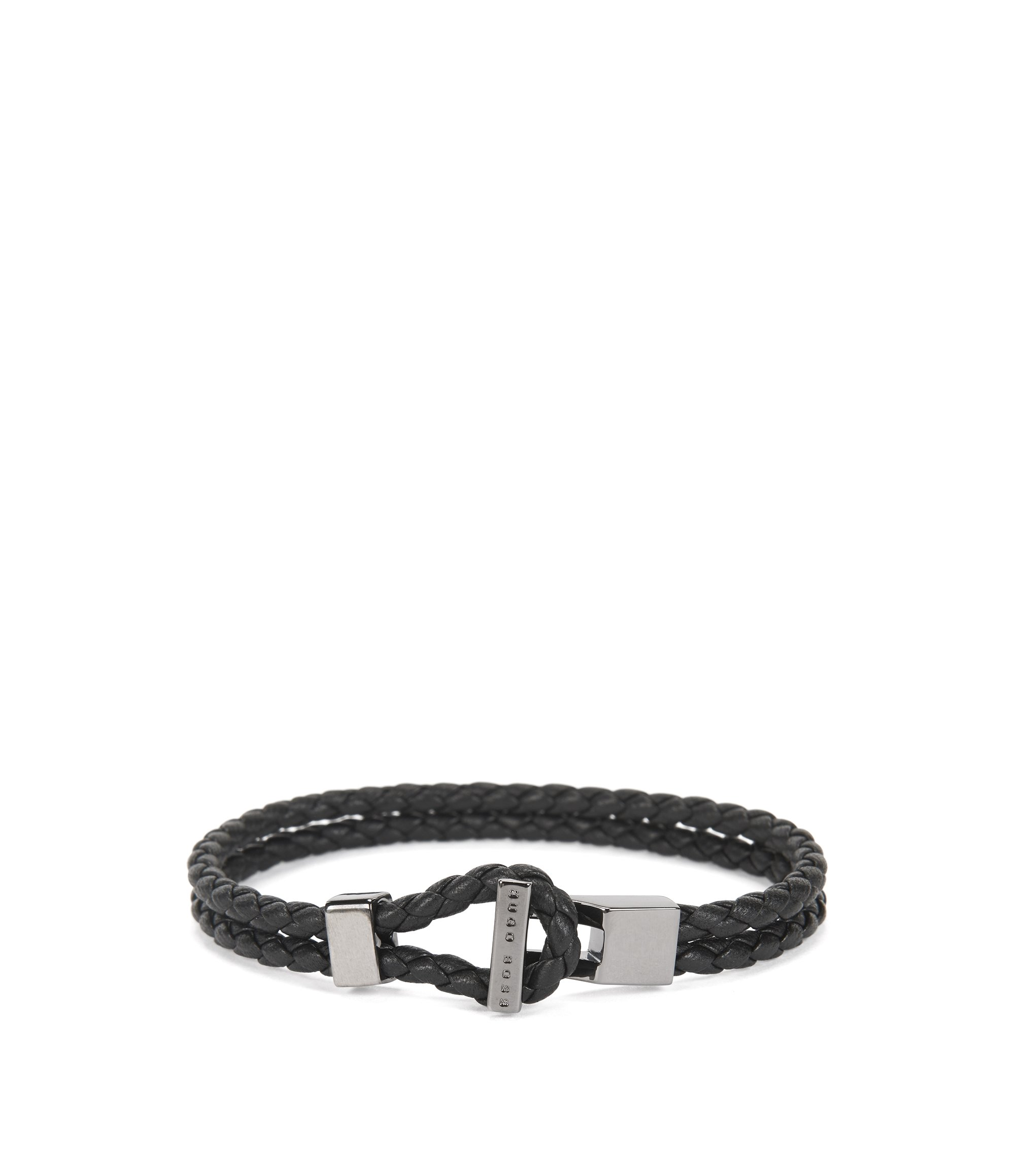 Leather bracelet with gunmetal hardware, Black