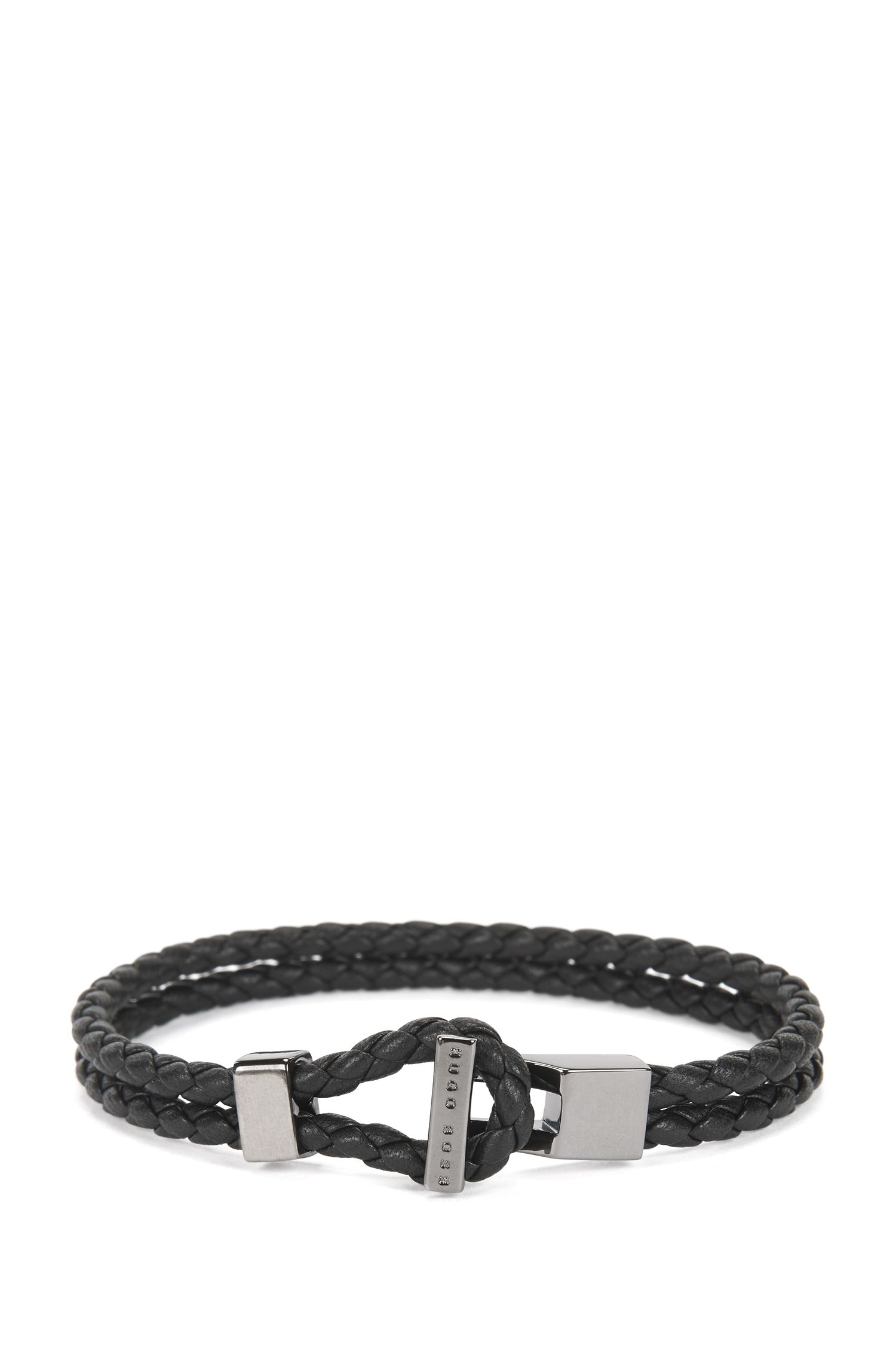 Leather bracelet with gunmetal hardware