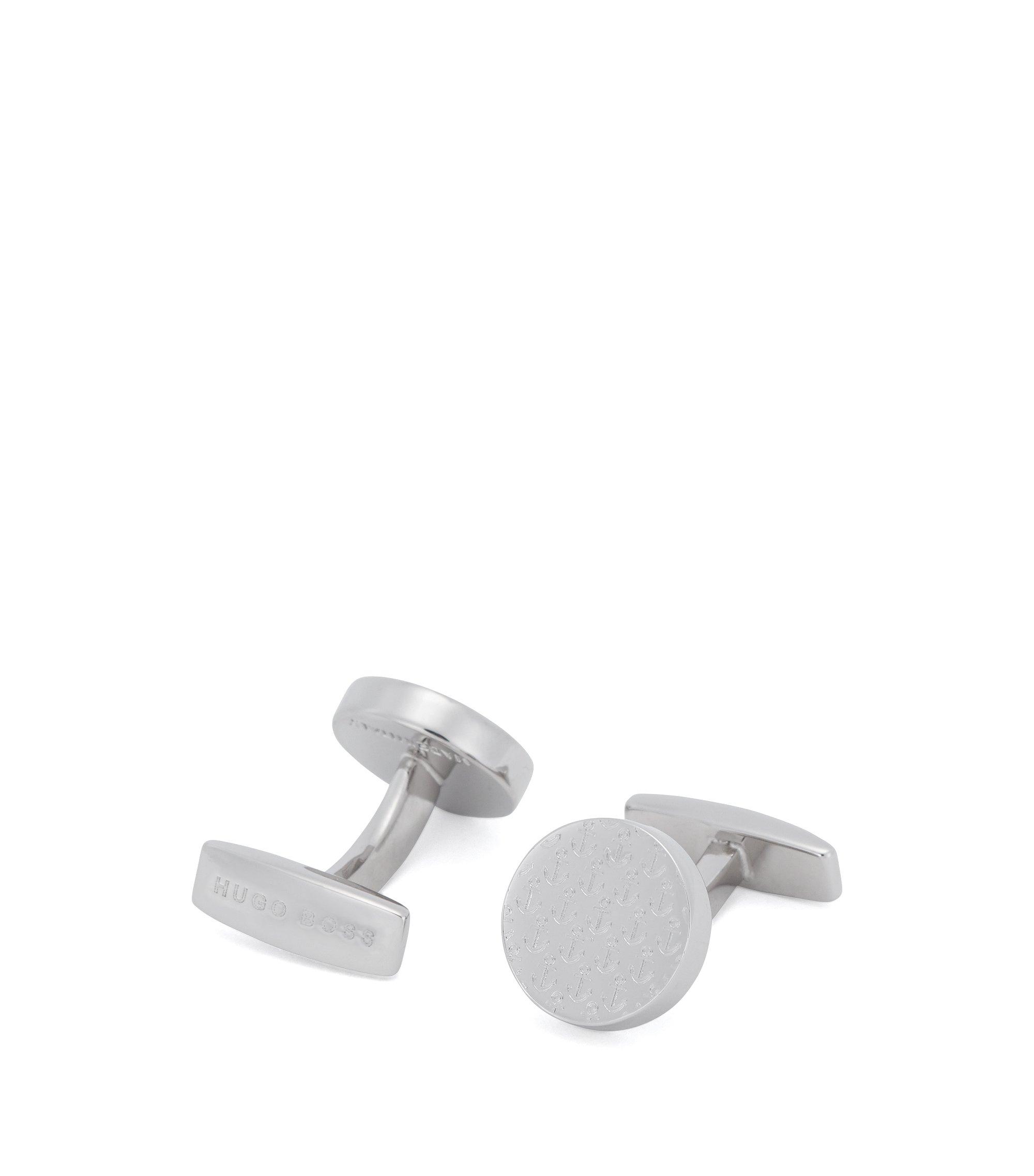 Round cufflinks with an anchor design, Silver