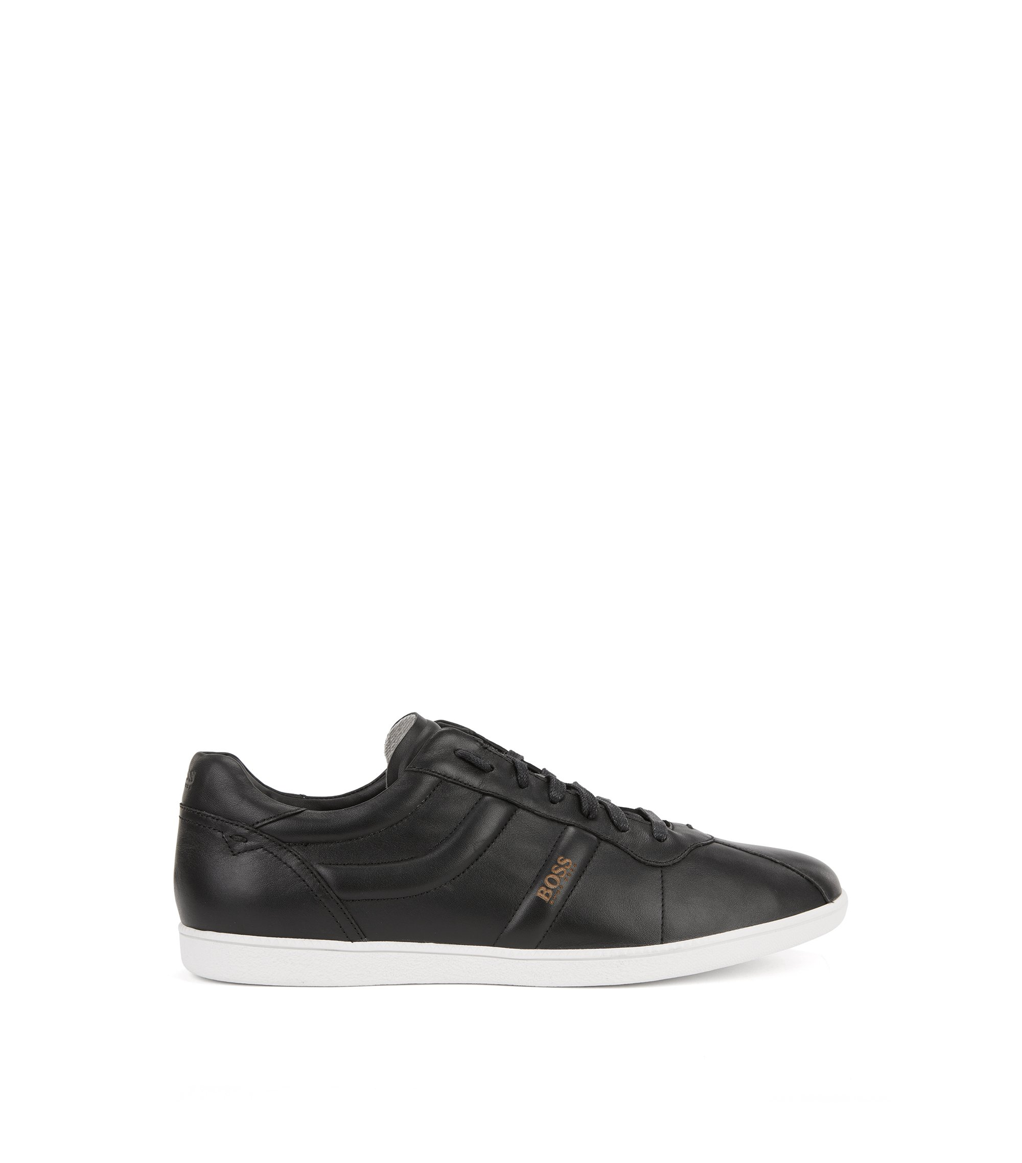 Sneakers low-top in pelle nappa, Nero