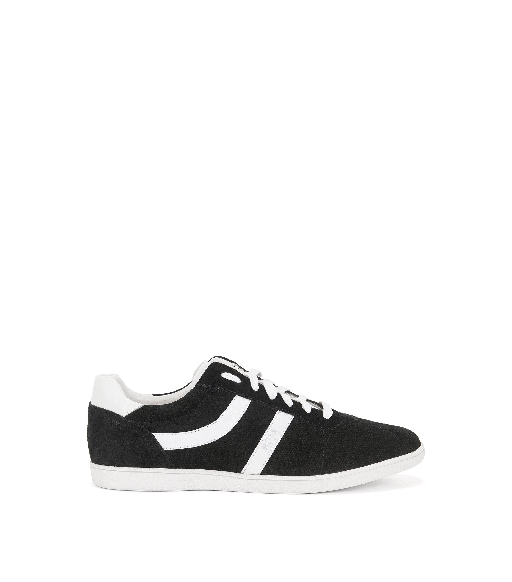 Low-top trainers in perforated and smooth suede, Black