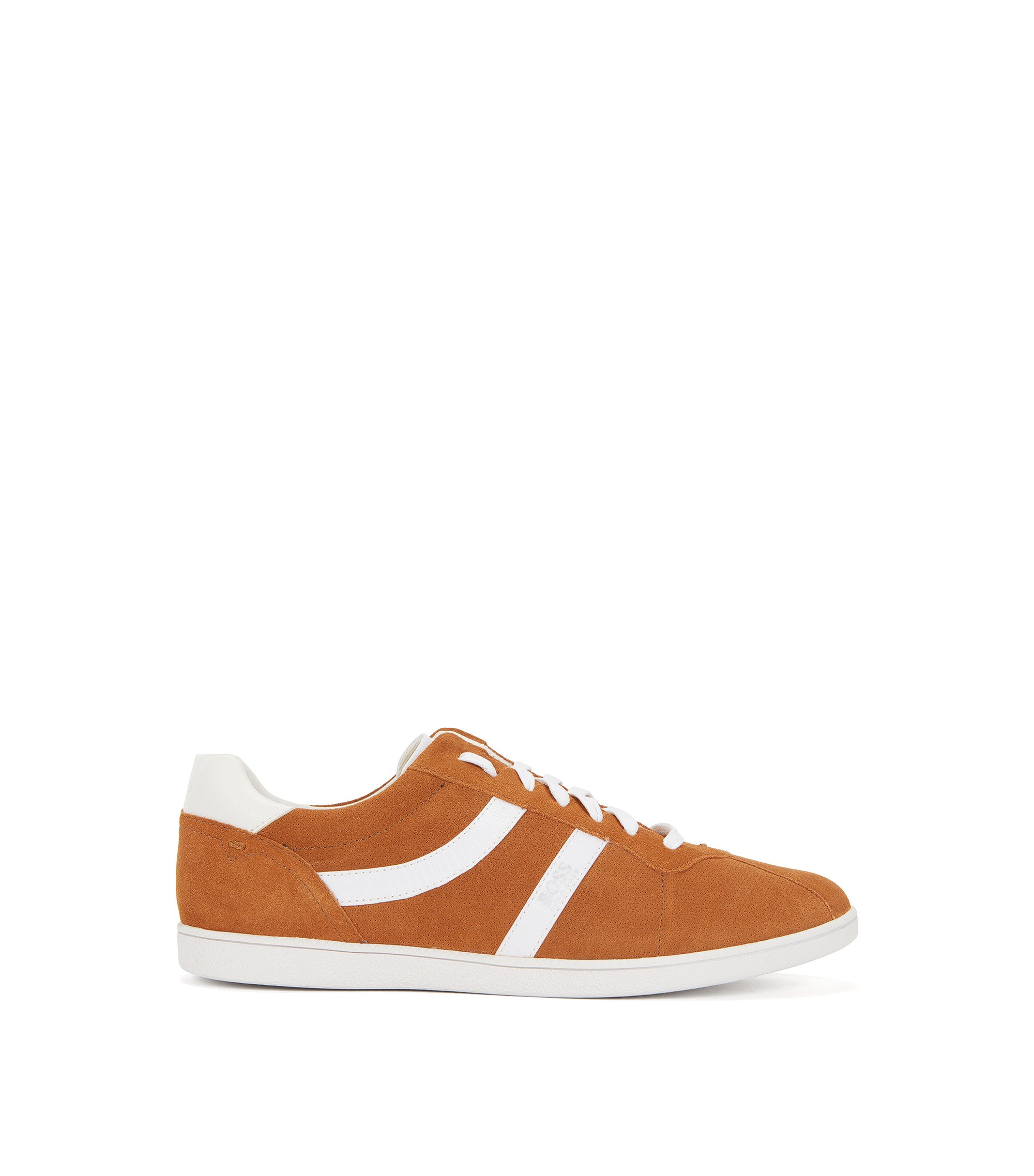 Sneakers low-top in pelle scamosciata liscia e traforata, Marrone