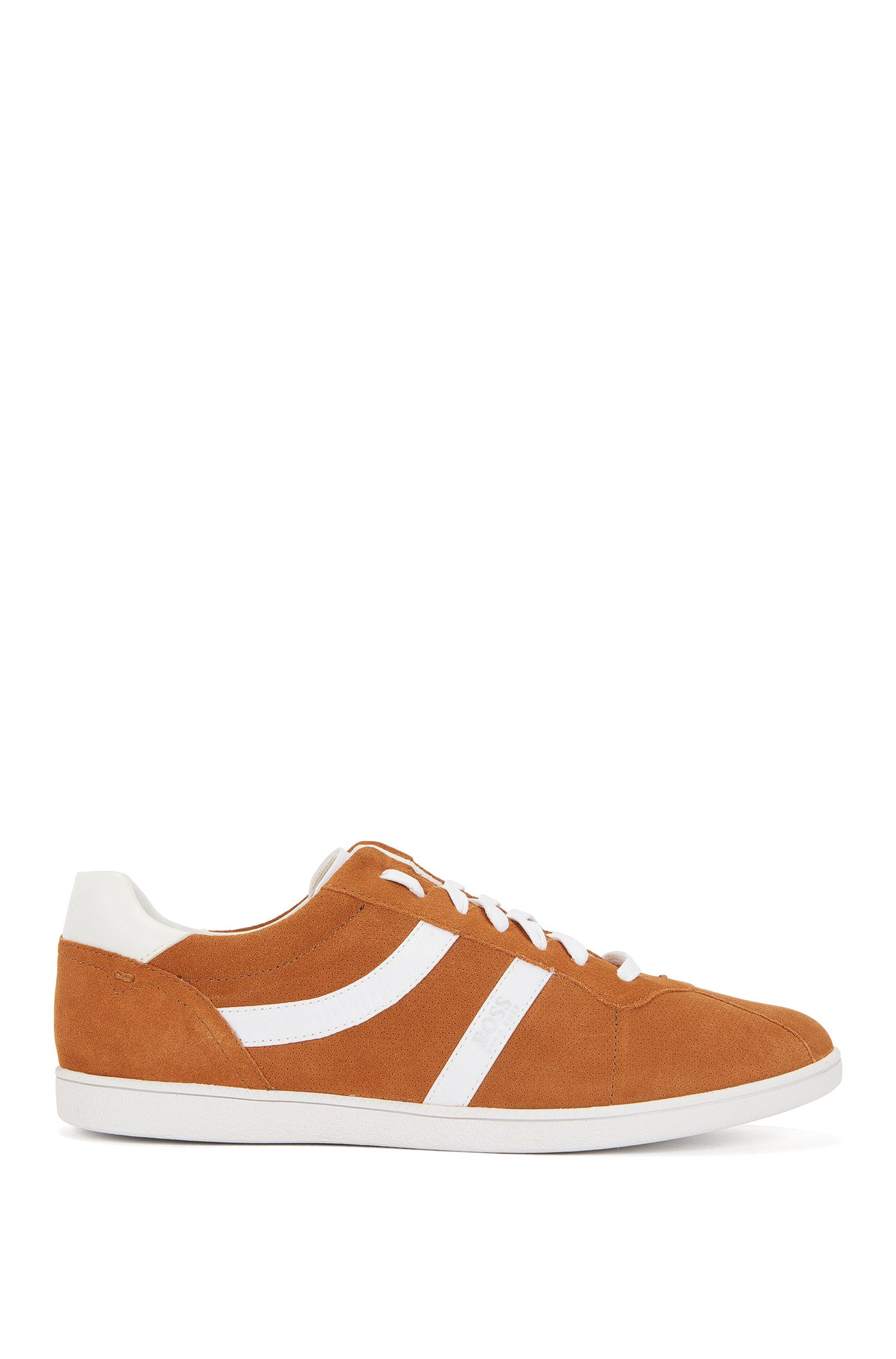 Sneakers low-top in pelle scamosciata liscia e traforata