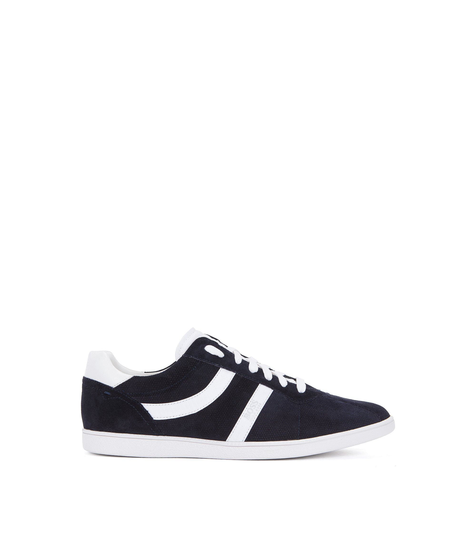 Low-top trainers in perforated and smooth suede, Dark Blue