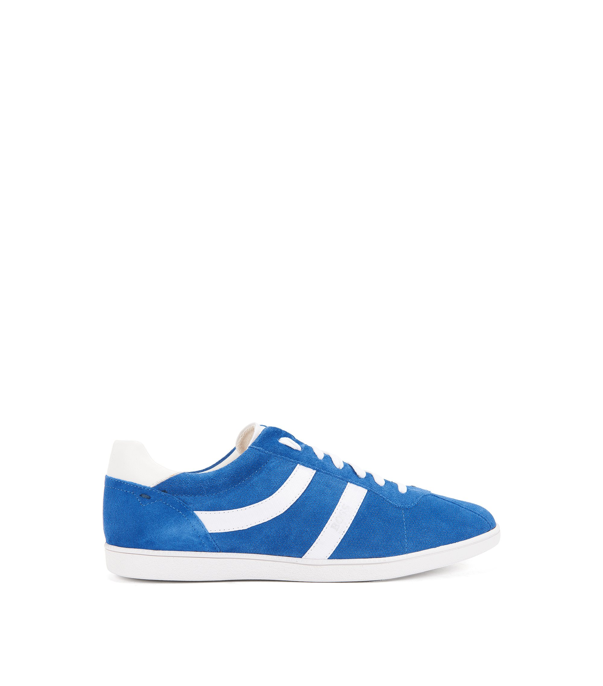 Sneakers low-top in pelle scamosciata liscia e traforata, Blu