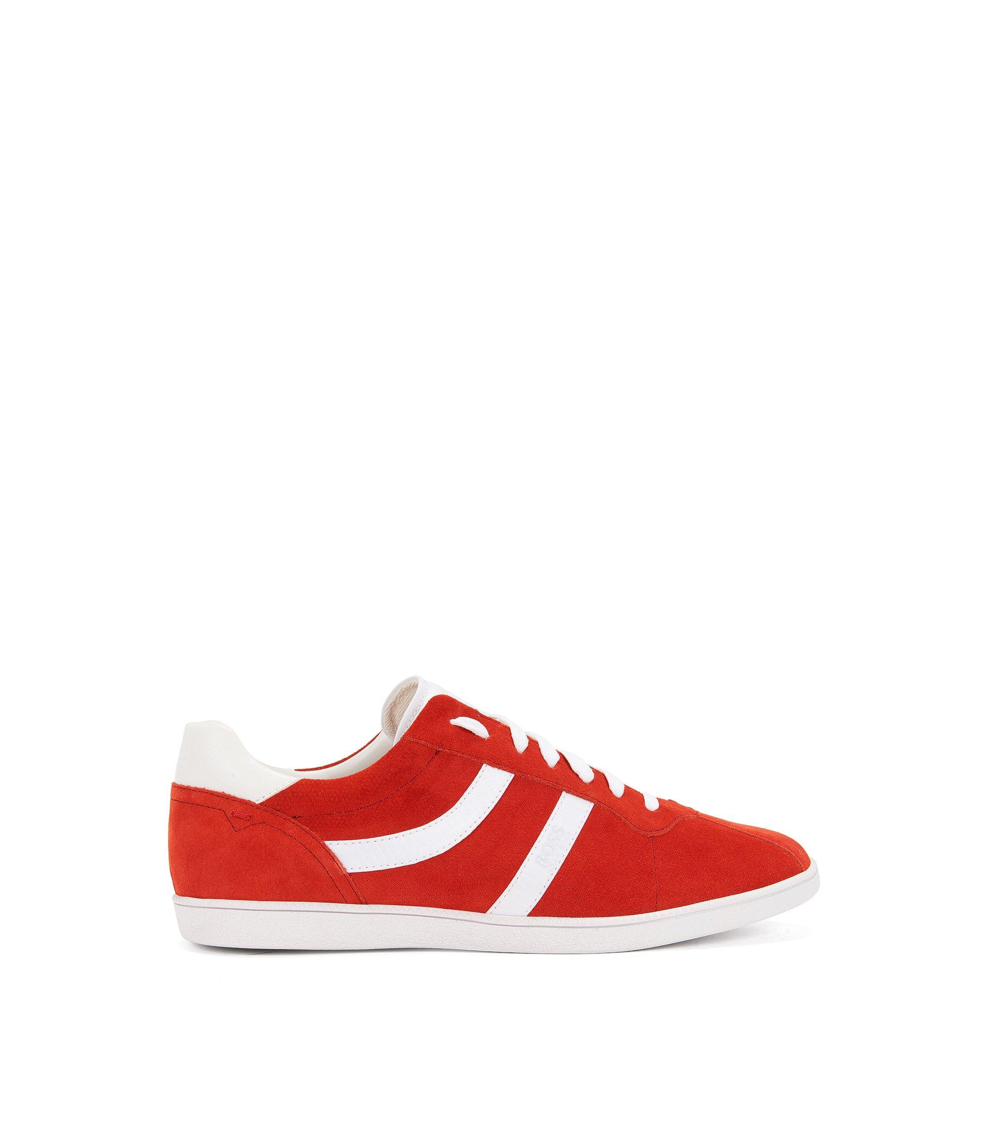 Lage sneakers van geperforeerd en glad suède, Rood