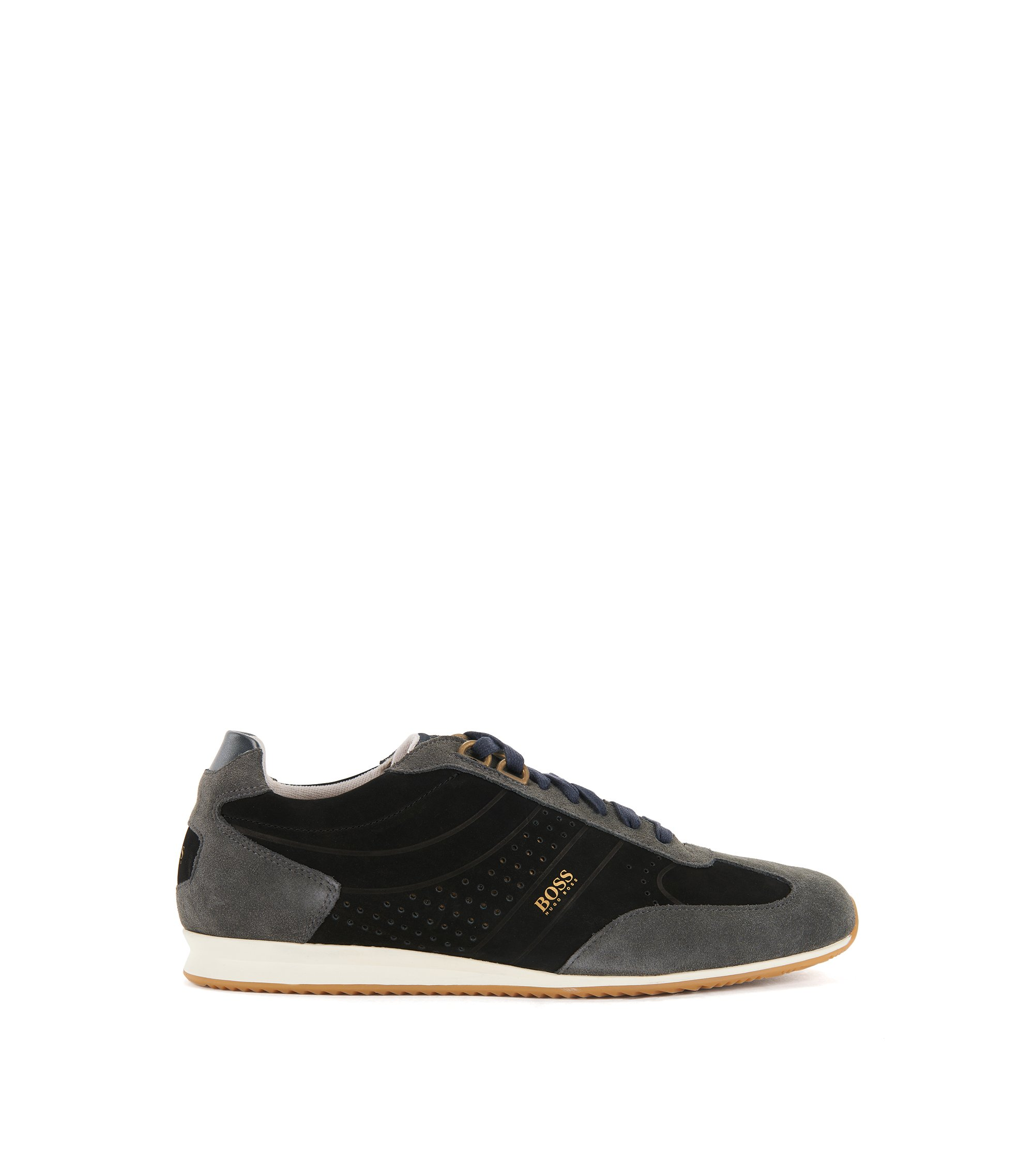 Low-top trainers in nubuck leather, Black