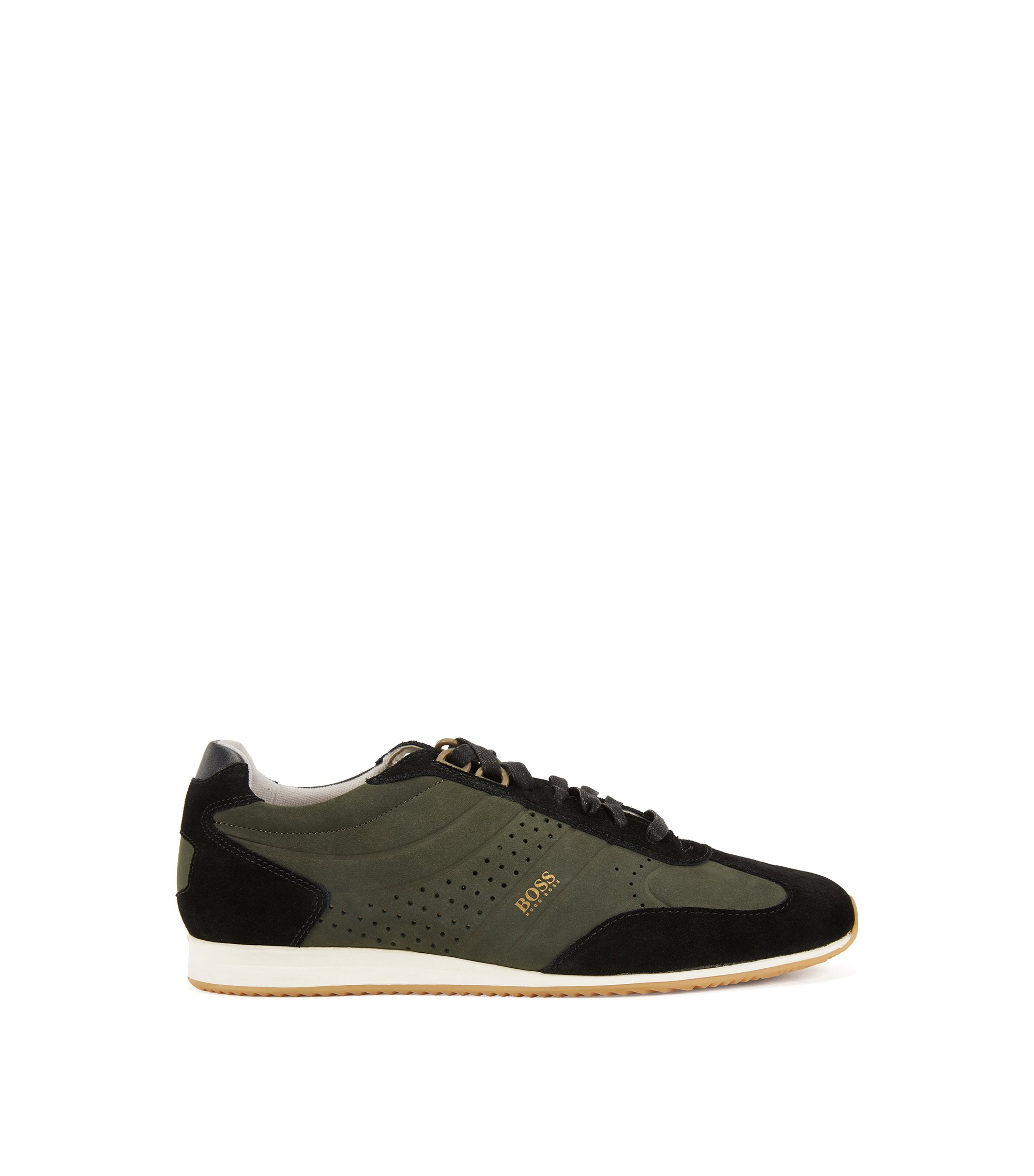 Sneakers low-top in pelle nabuk, Verde scuro