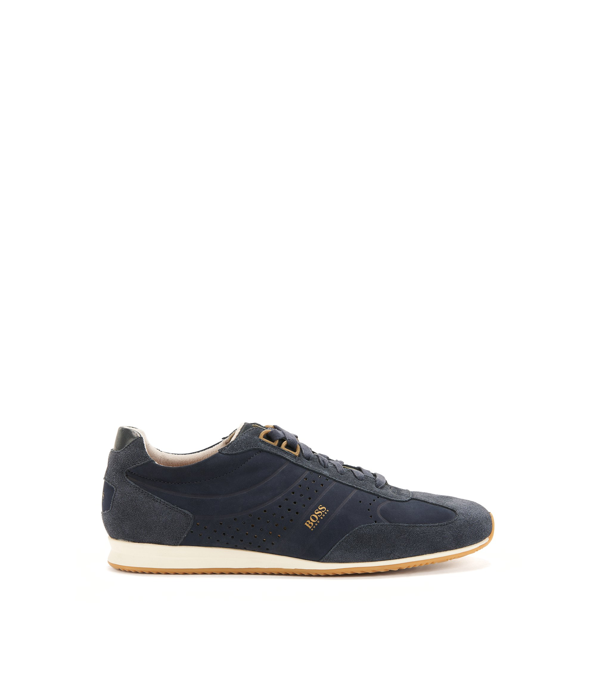 Sneakers low-top in pelle nabuk, Blu scuro