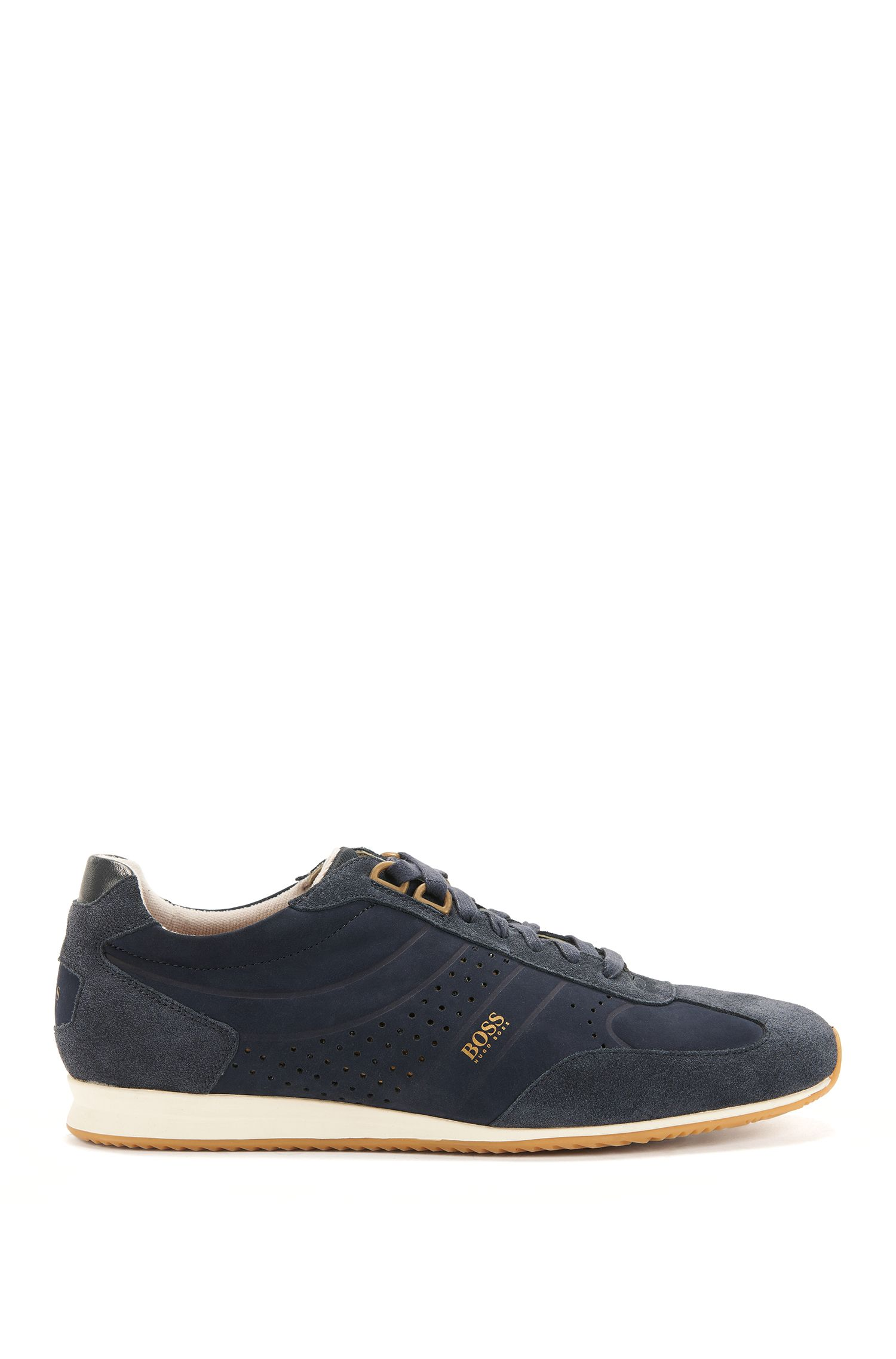 Low-top trainers in nubuck leather