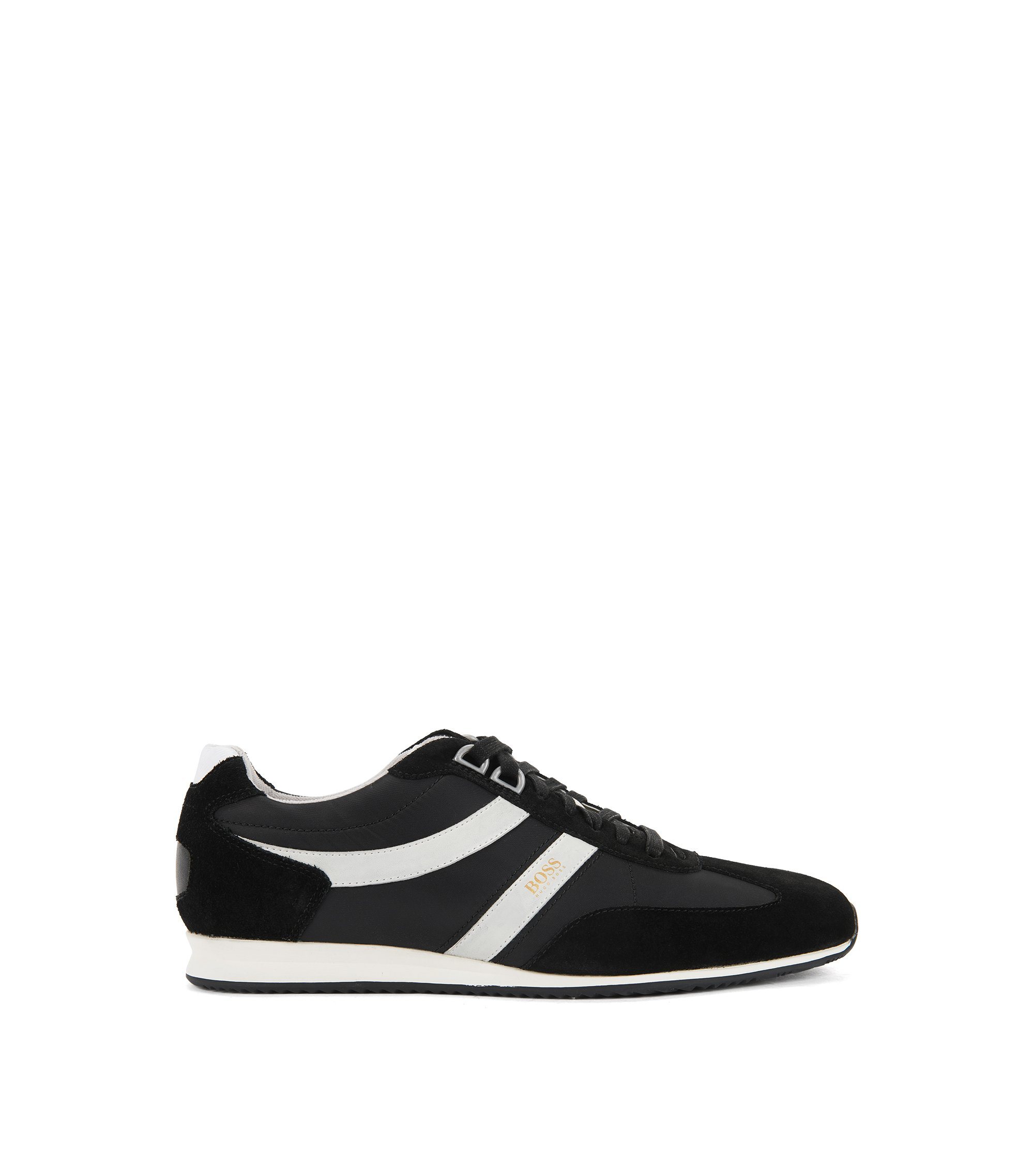 Lace-up trainers with suede overlays, Black