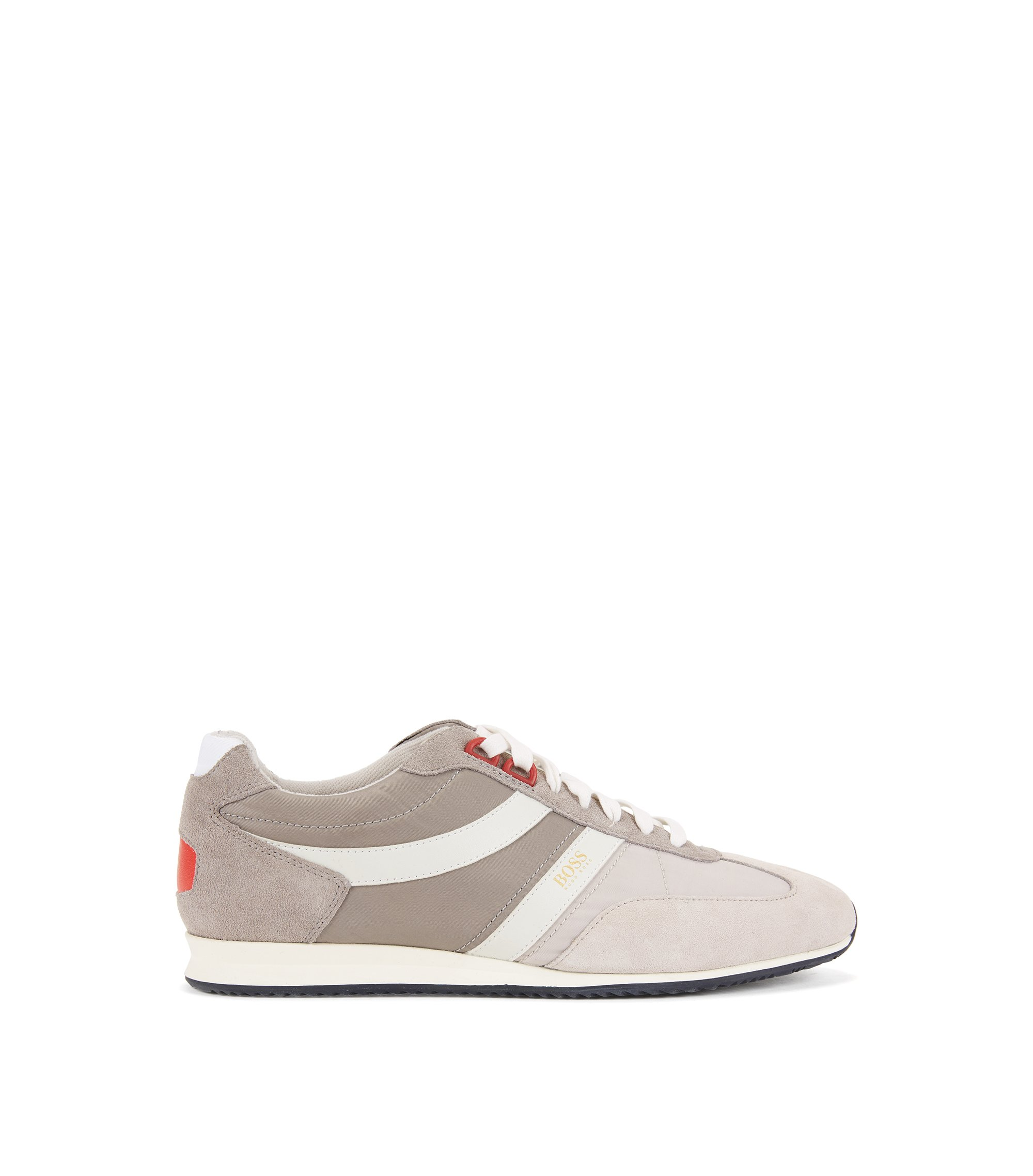 Lace-up trainers with suede overlays, Grey