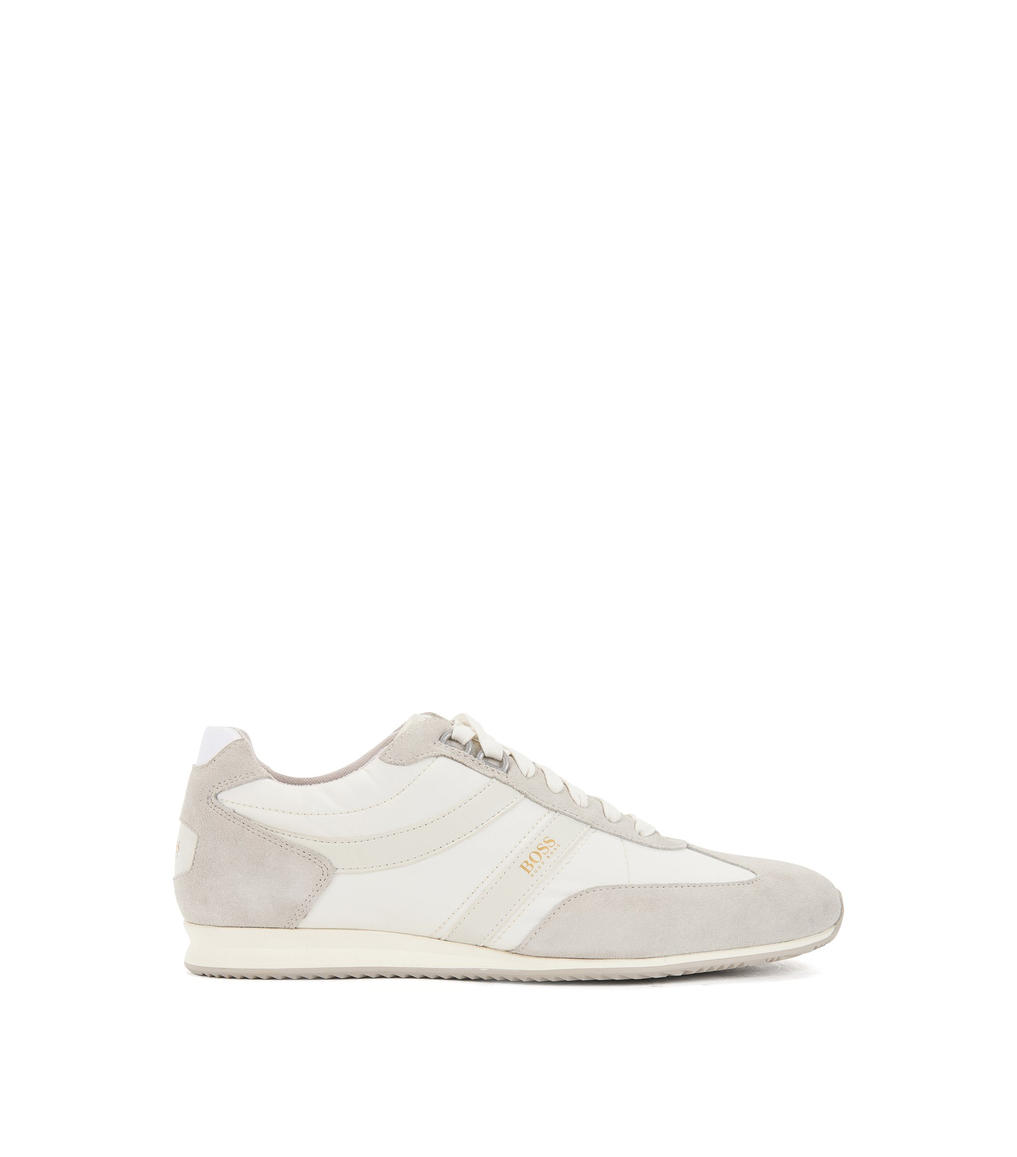 Lace-up trainers with suede overlays, White