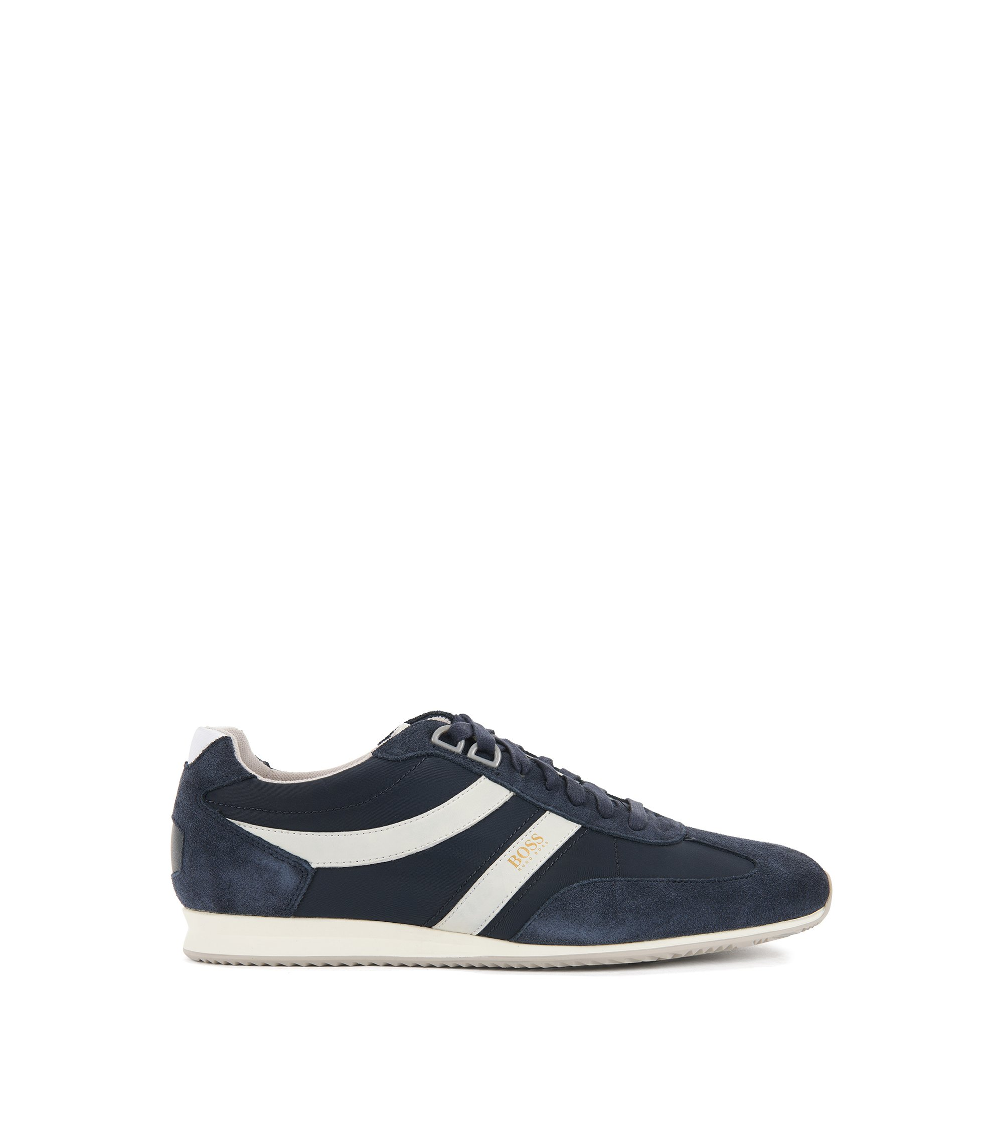 Lace-up trainers with suede overlays, Dark Blue
