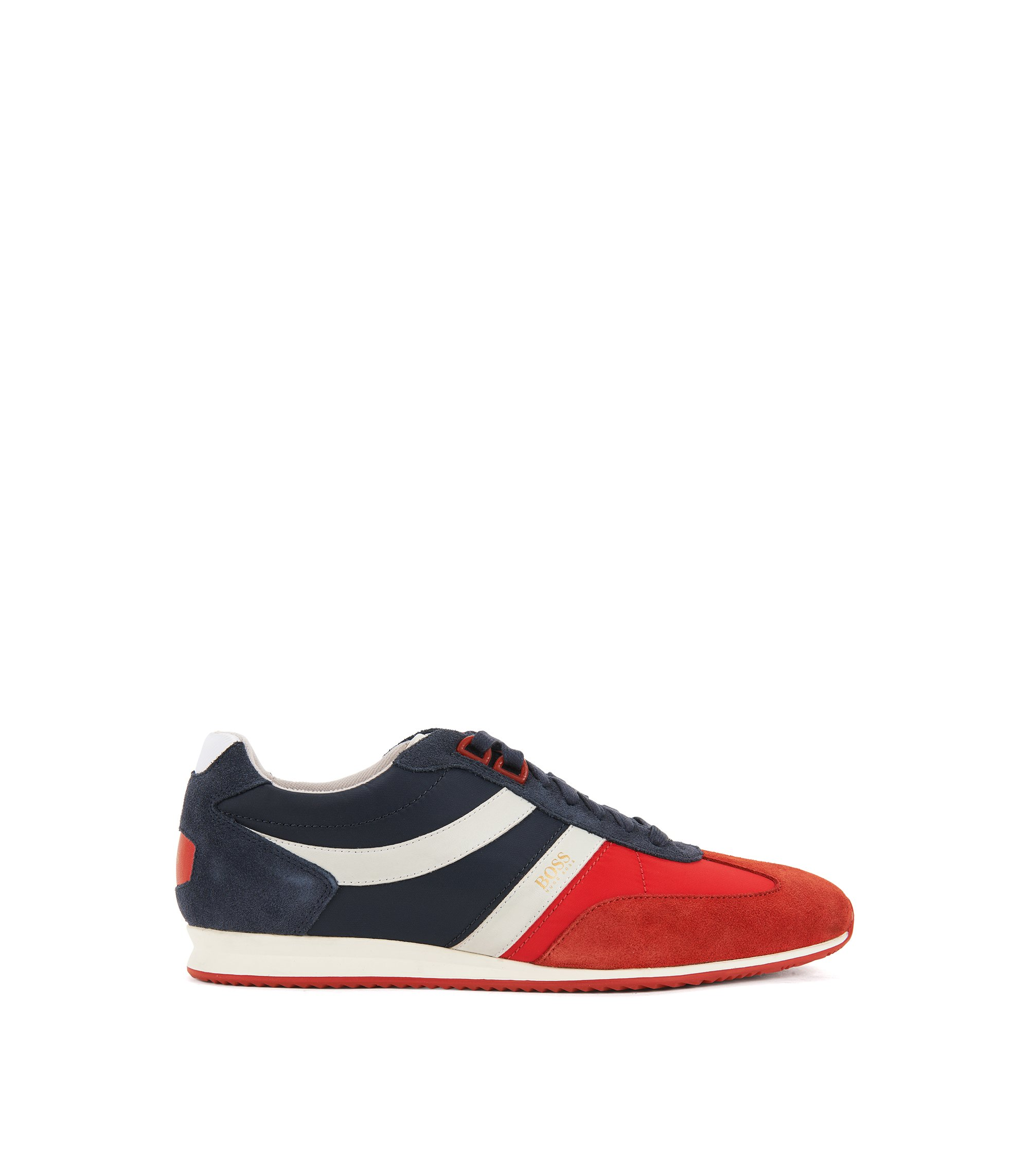 Lace-up trainers with suede overlays, Red