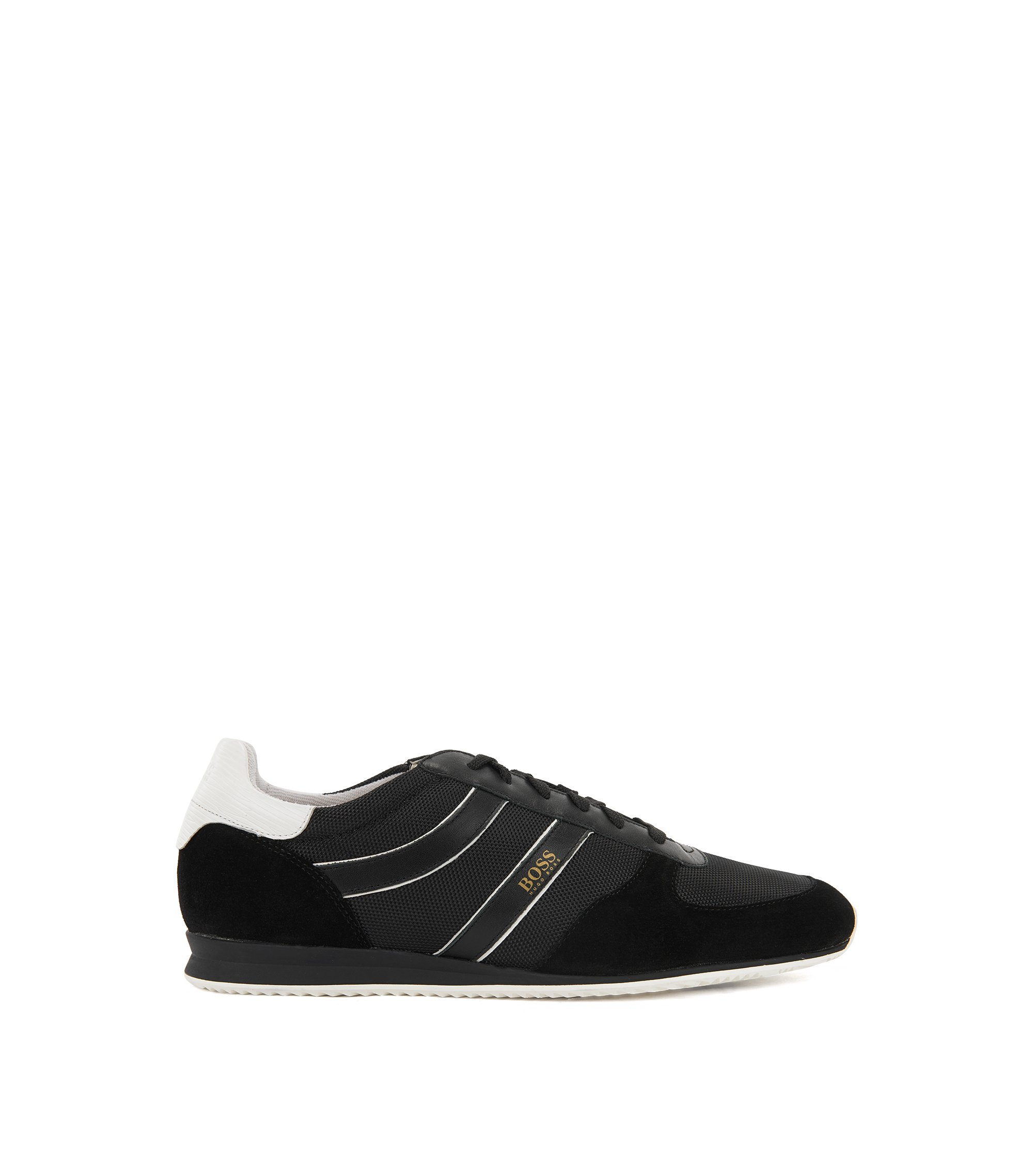 Lace-up low-profile trainers with suede panels, Black